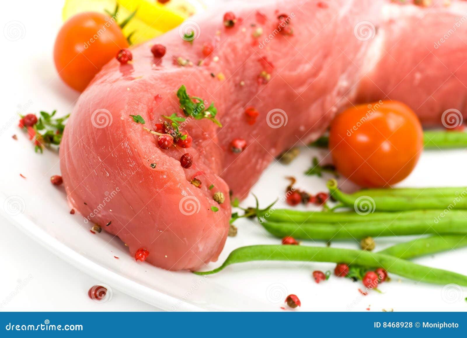 Rå fläskkarré för filépork