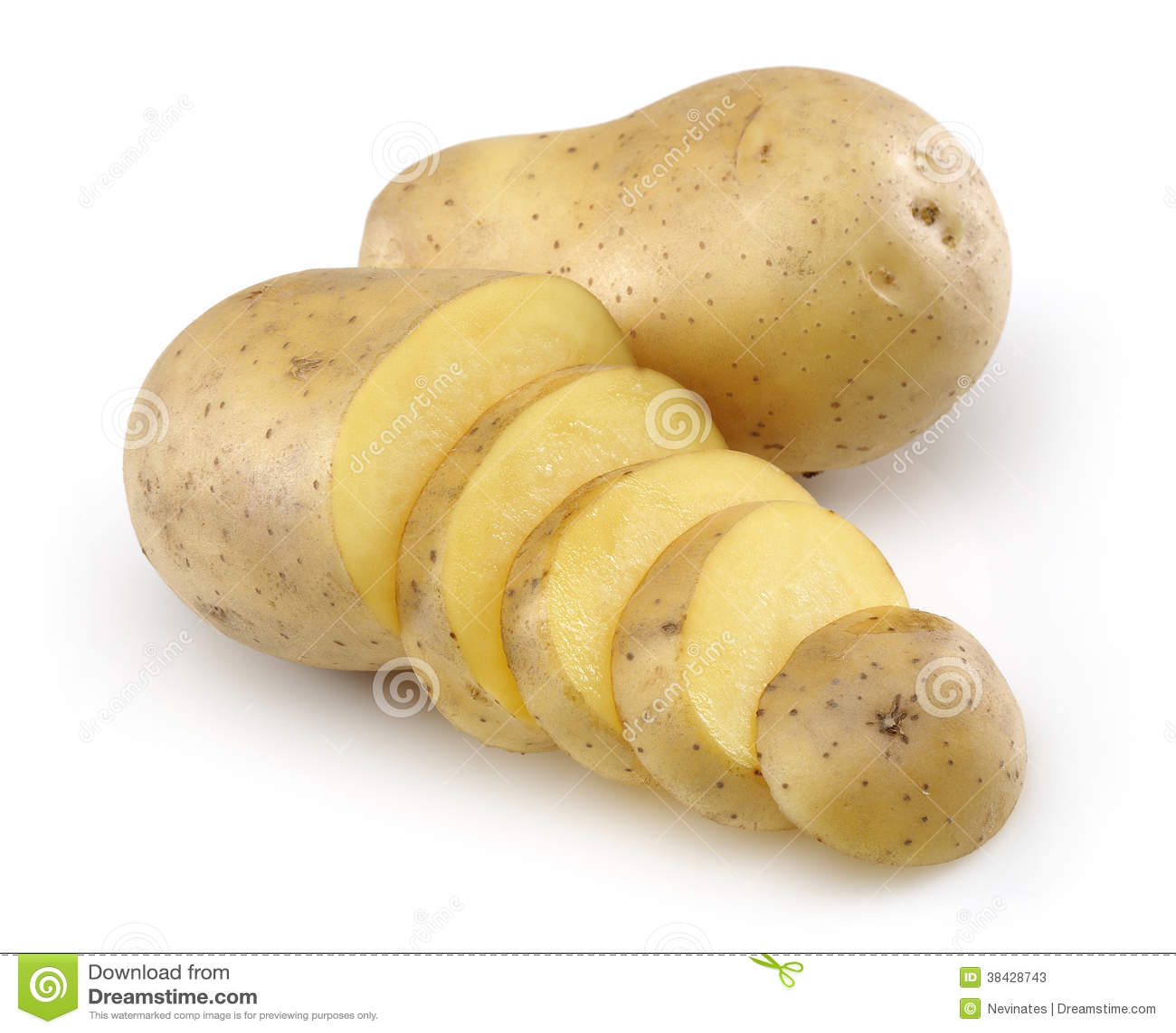 Rå potatis och skivad potatis