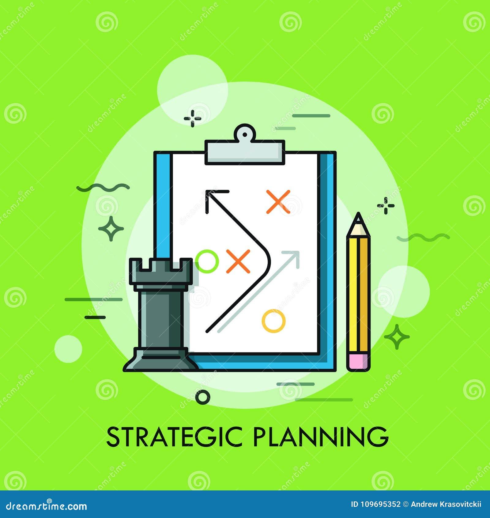 Råkaschackstycke, blyertspenna och strategiskt plan som dras på det pappers- arket Planläggning av utveckling för affärsstrategi