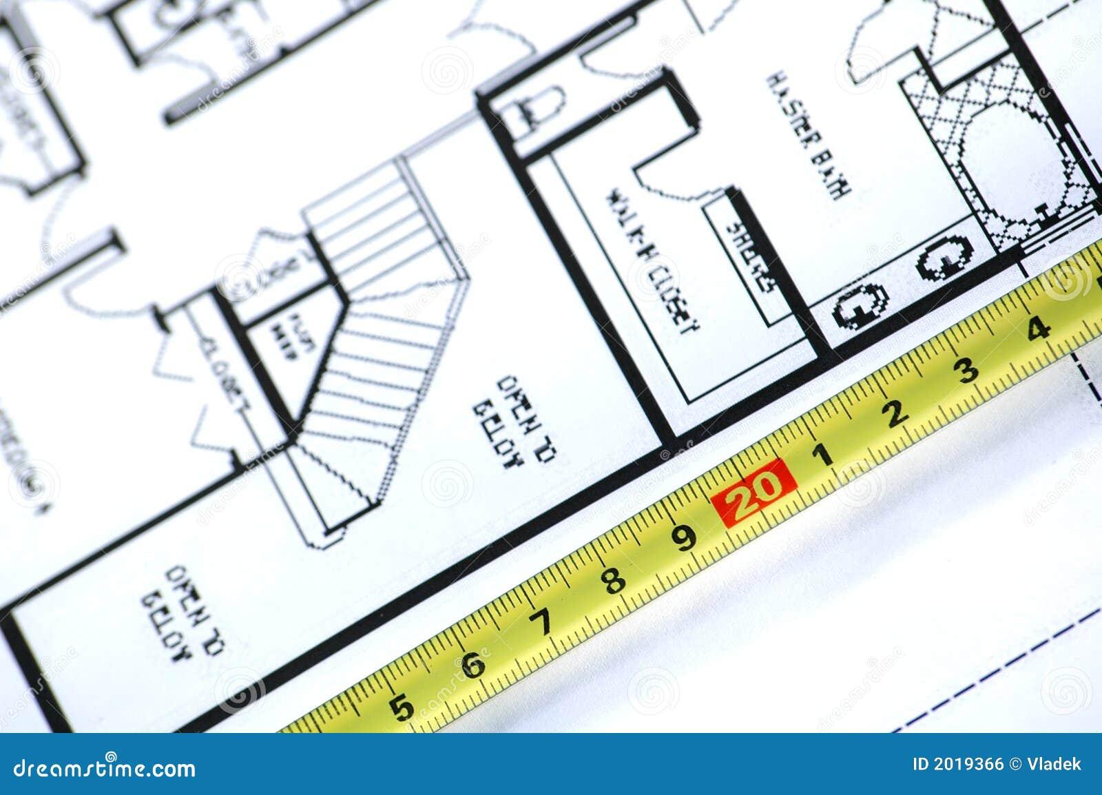 Règle de pliage et plan architectural