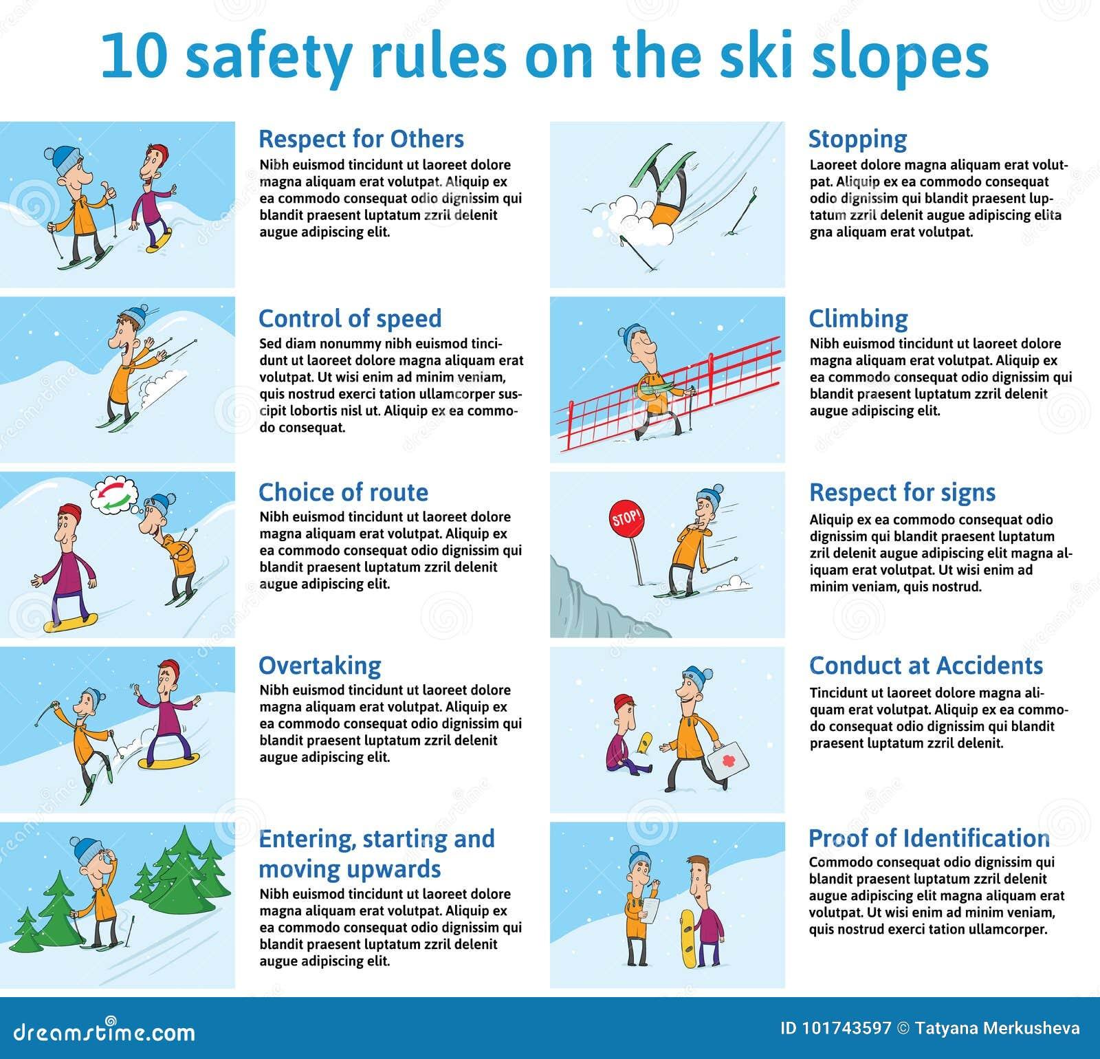 10 règles de sécurité sur Ski Slopes Montagne Ski Safety Instructions Illustration de vecteur pour la brochure ou l information