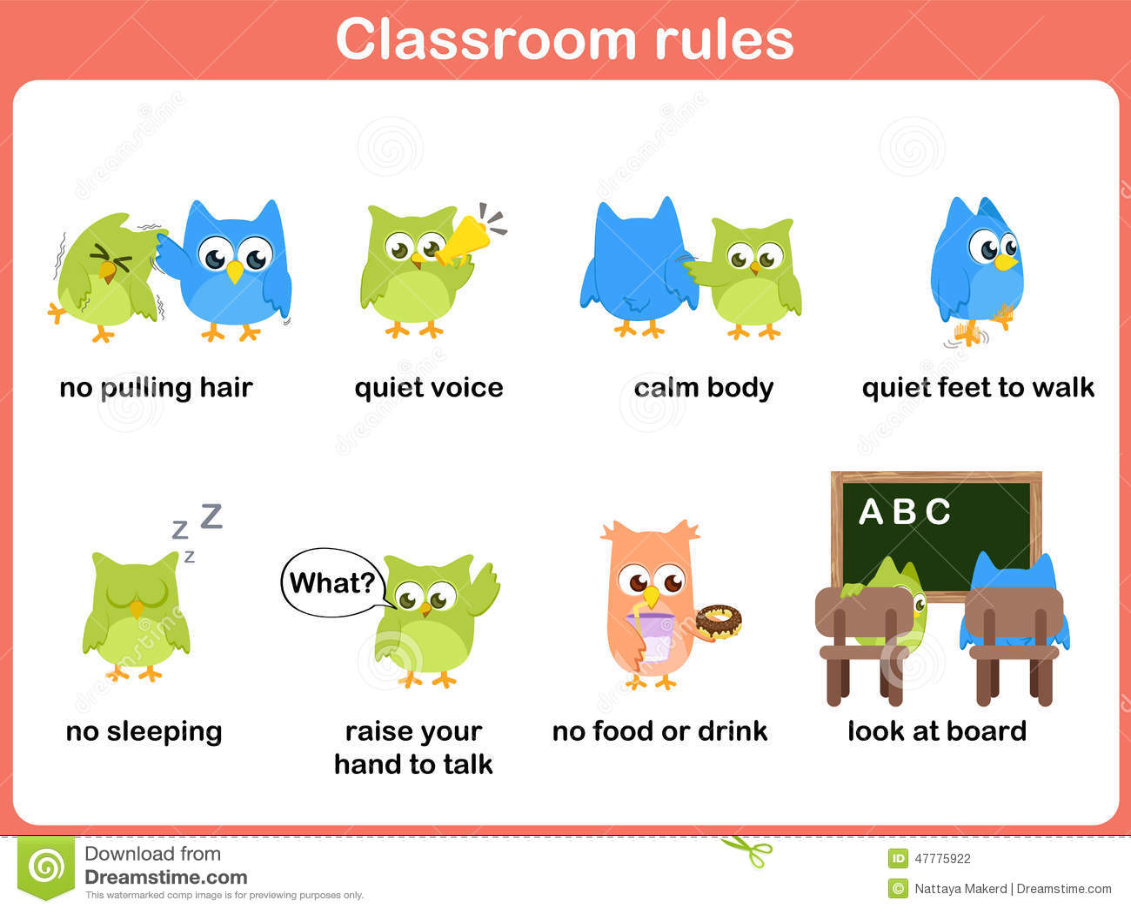 Règles de salle de classe pour des enfants