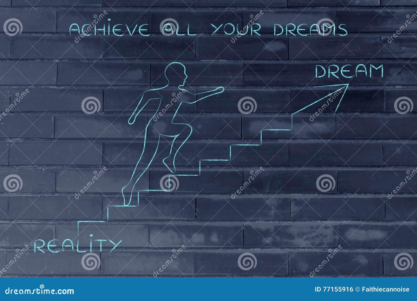 Réalité ou rêve, métaphore s élevante d escaliers d homme