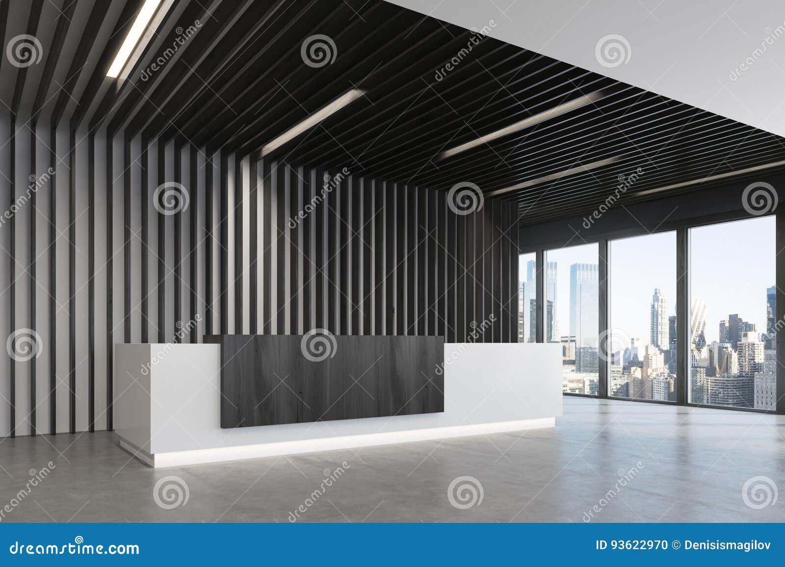 Réception blanche et noire côté noir de bureau illustration stock