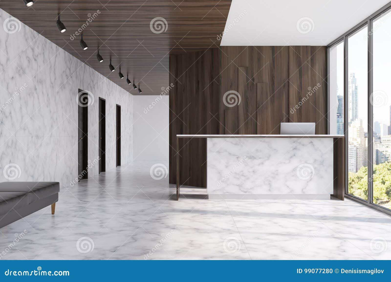 Réception de marbre dans un bureau en bois foncé illustration