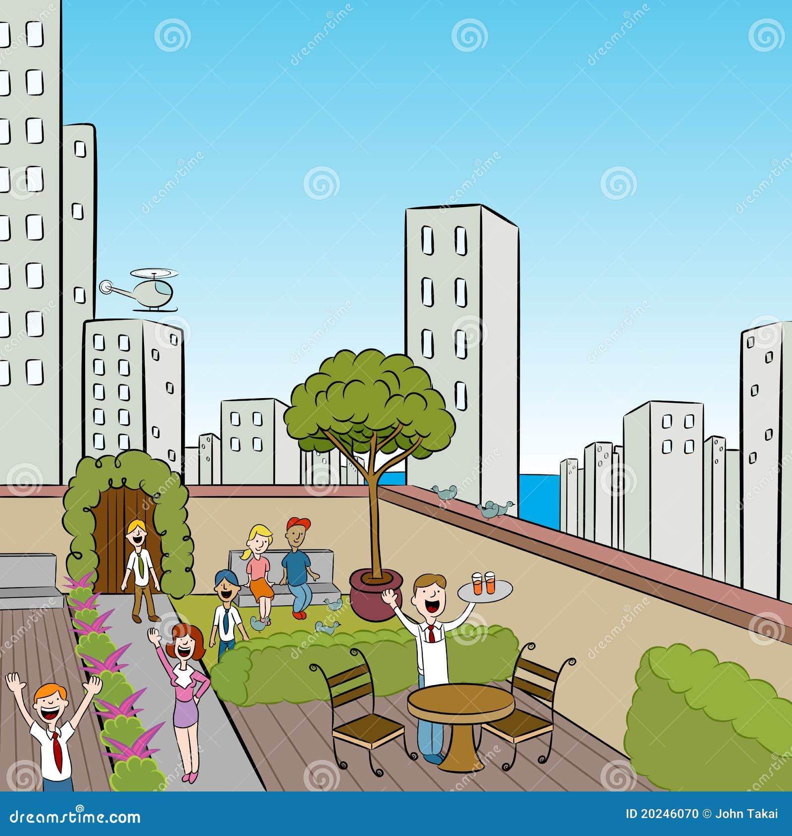 Réception de terrasse de ville