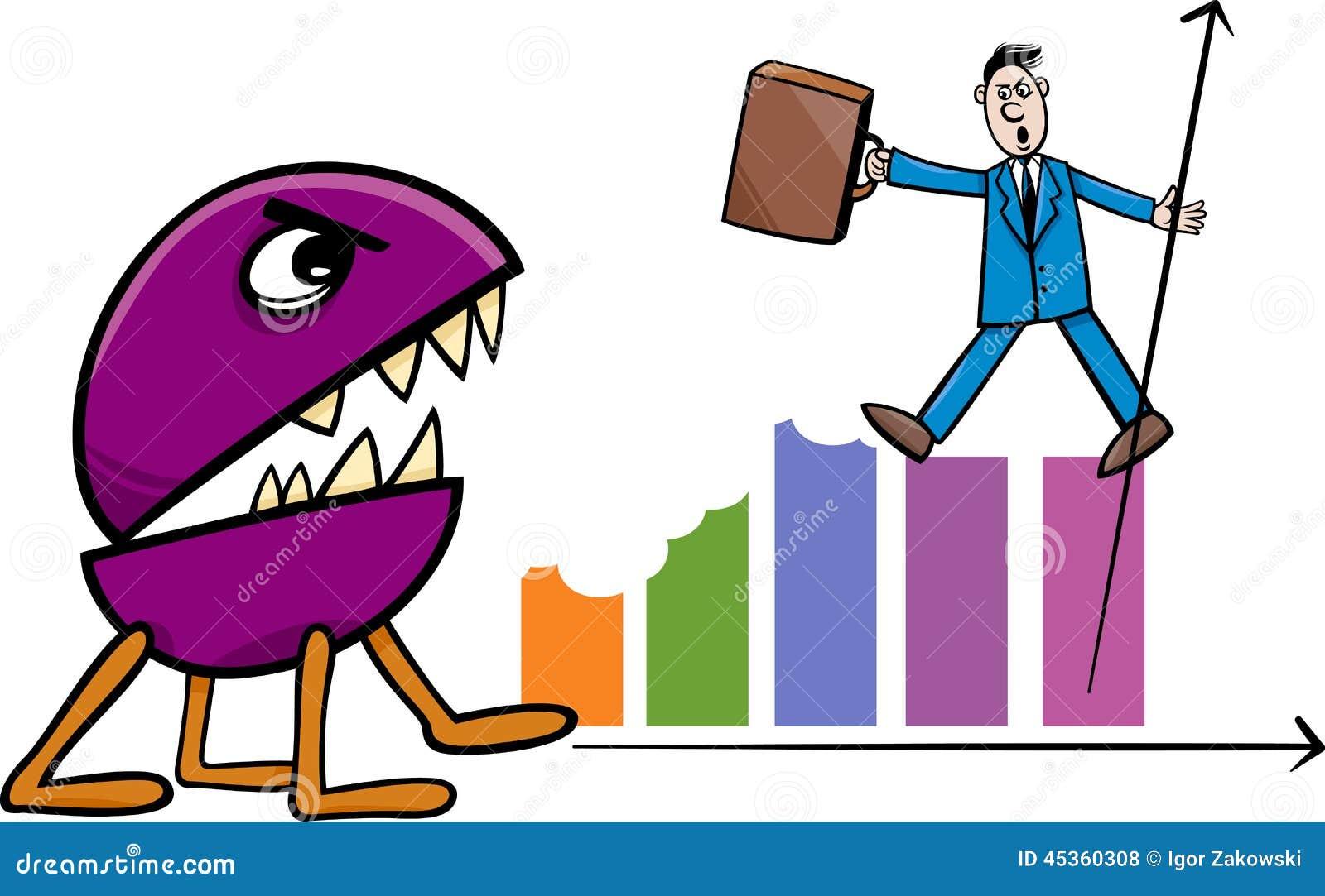 Récession dans l illustration de bande dessinée d affaires