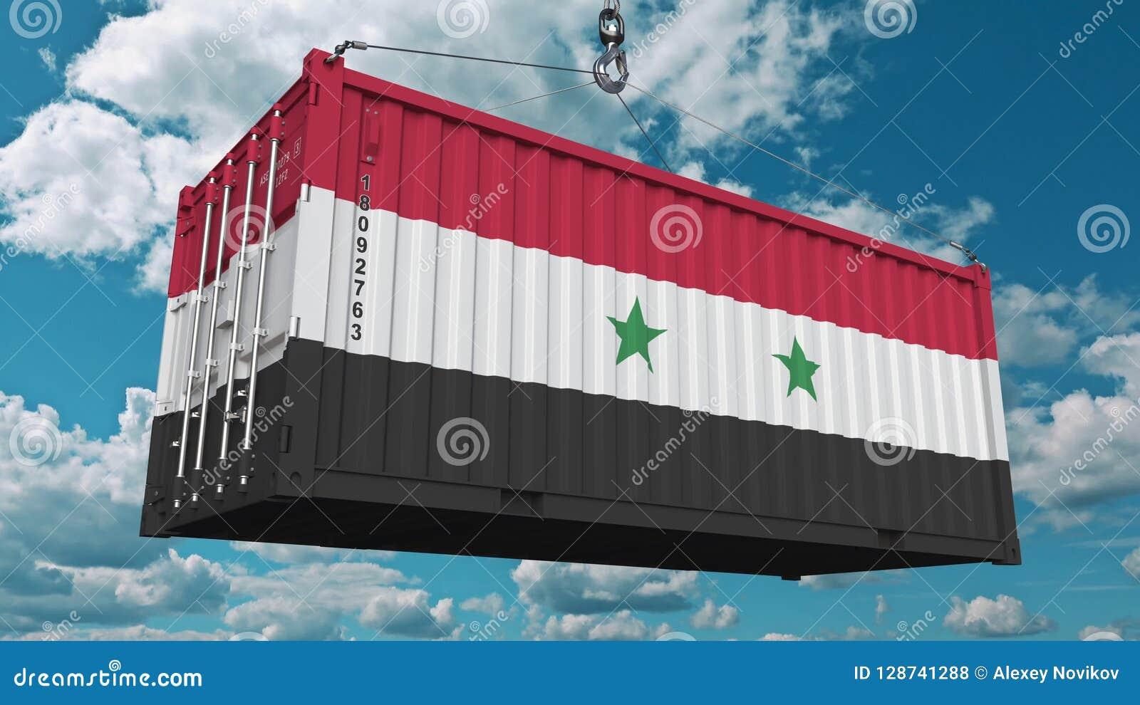 Récipient de cargaison avec le drapeau de la Syrie L importation ou l exportation syrienne a rapporté le rendu 3D conceptuel