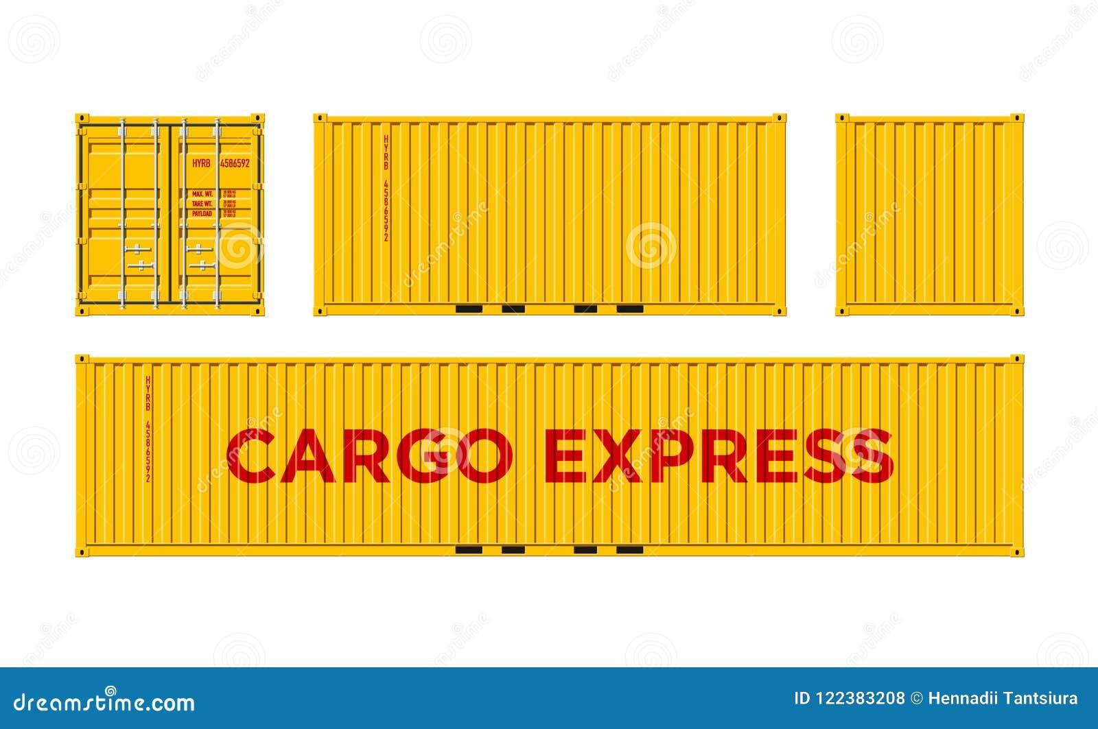 Récipient de cargaison jaune d expédition pour la logistique et transport d isolement sur l illustration blanche de vecteur de fo