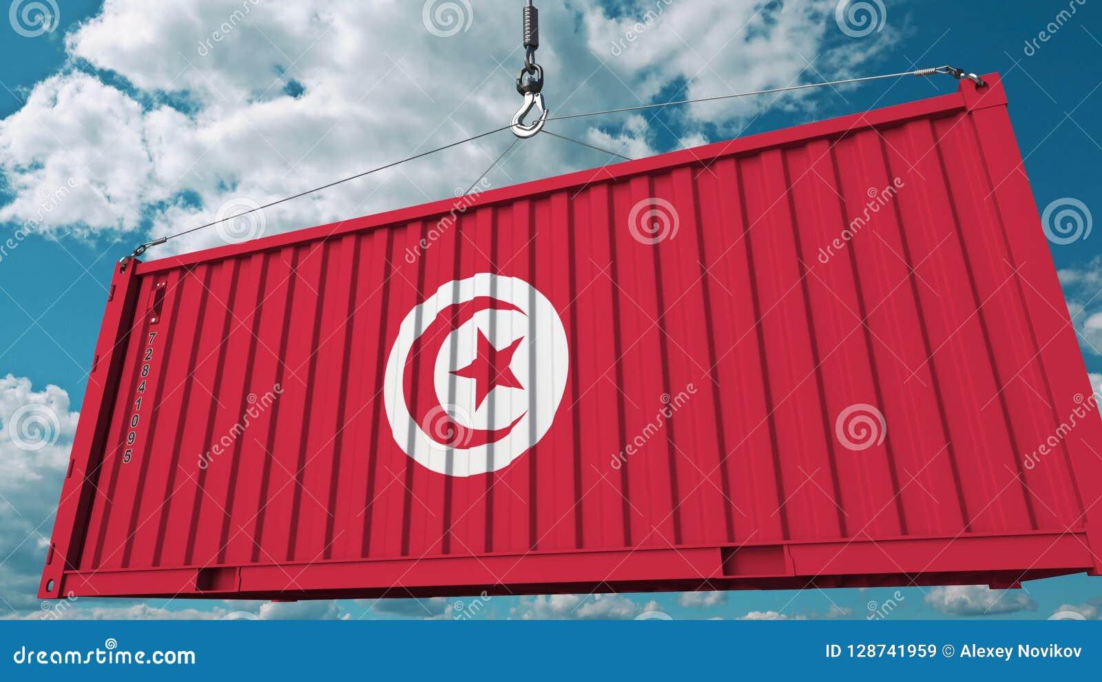 Récipient de chargement avec le drapeau de la Tunisie L importation ou l exportation tunisienne a rapporté le rendu 3D conceptuel