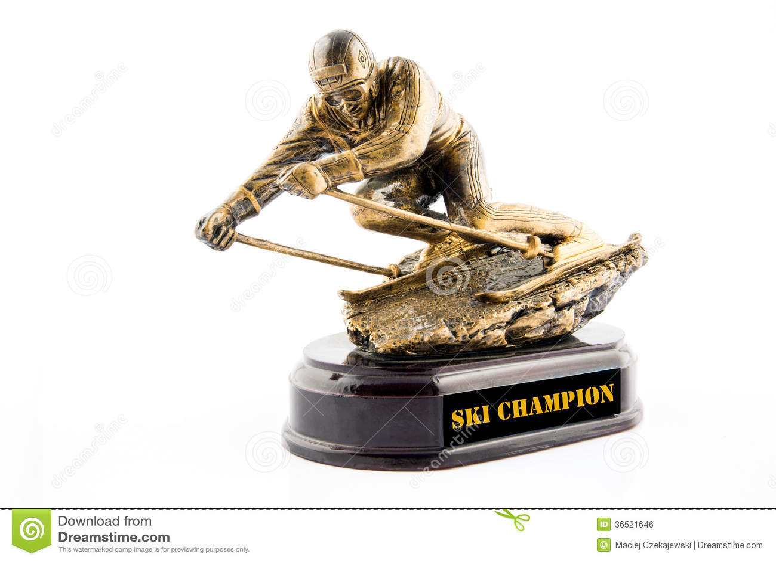 Récompense de statuette de champion de ski d or