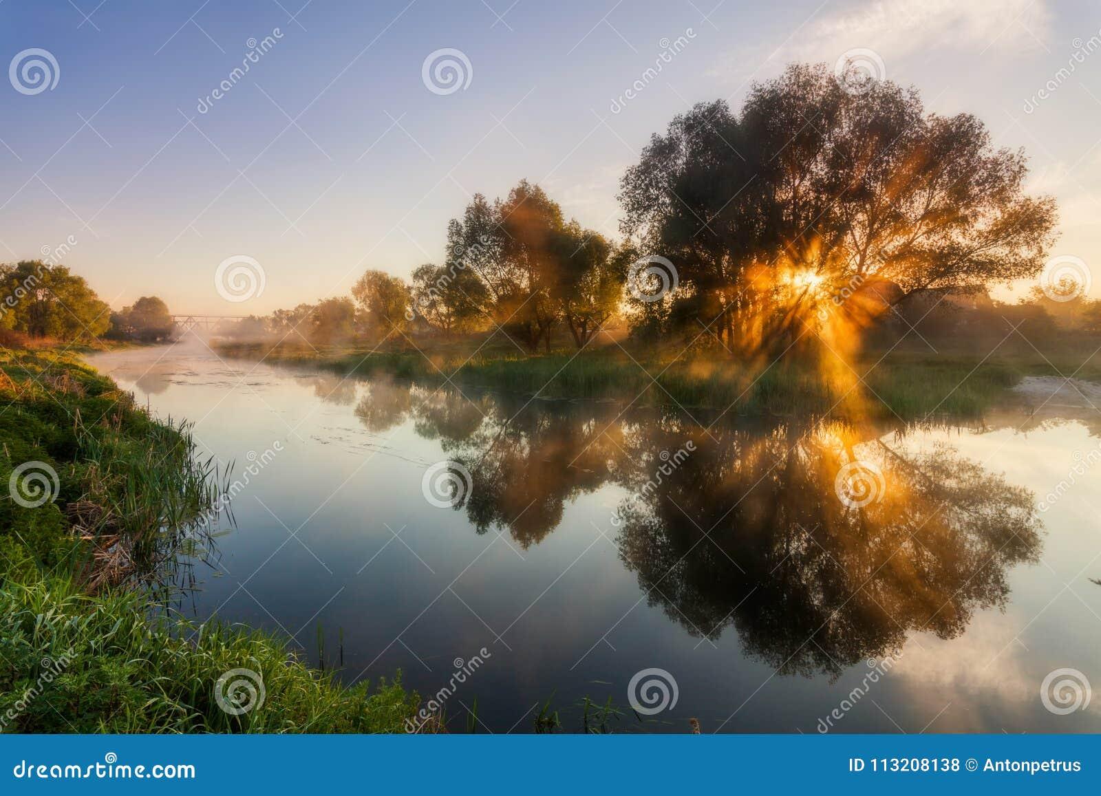 Réflexion d un beau ciel d aube en rivière