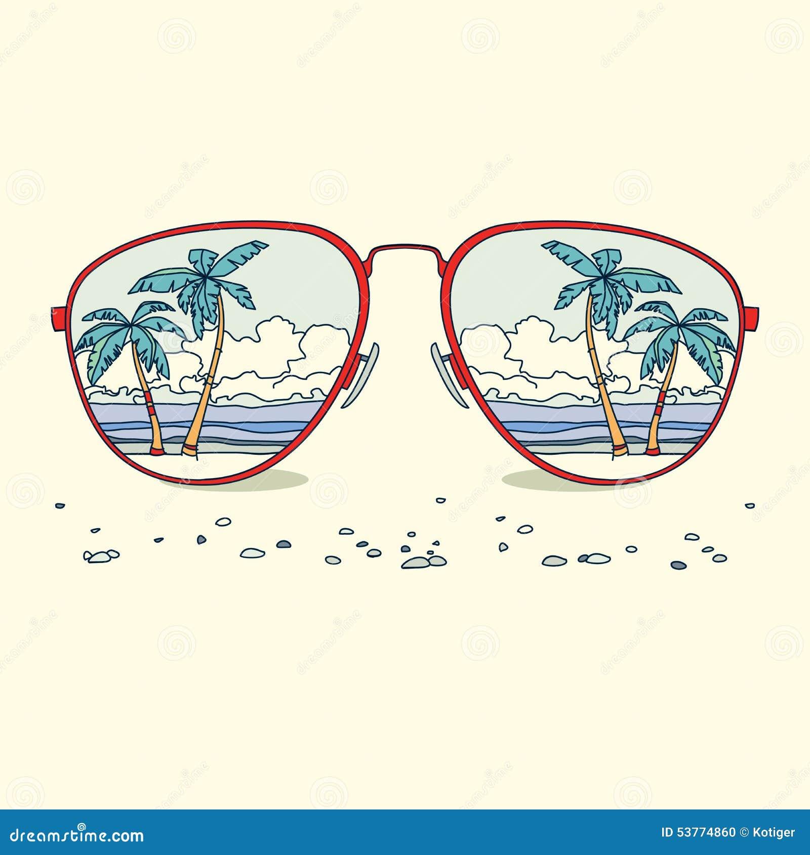 Réflexion de la plage, palmiers, plage dedans