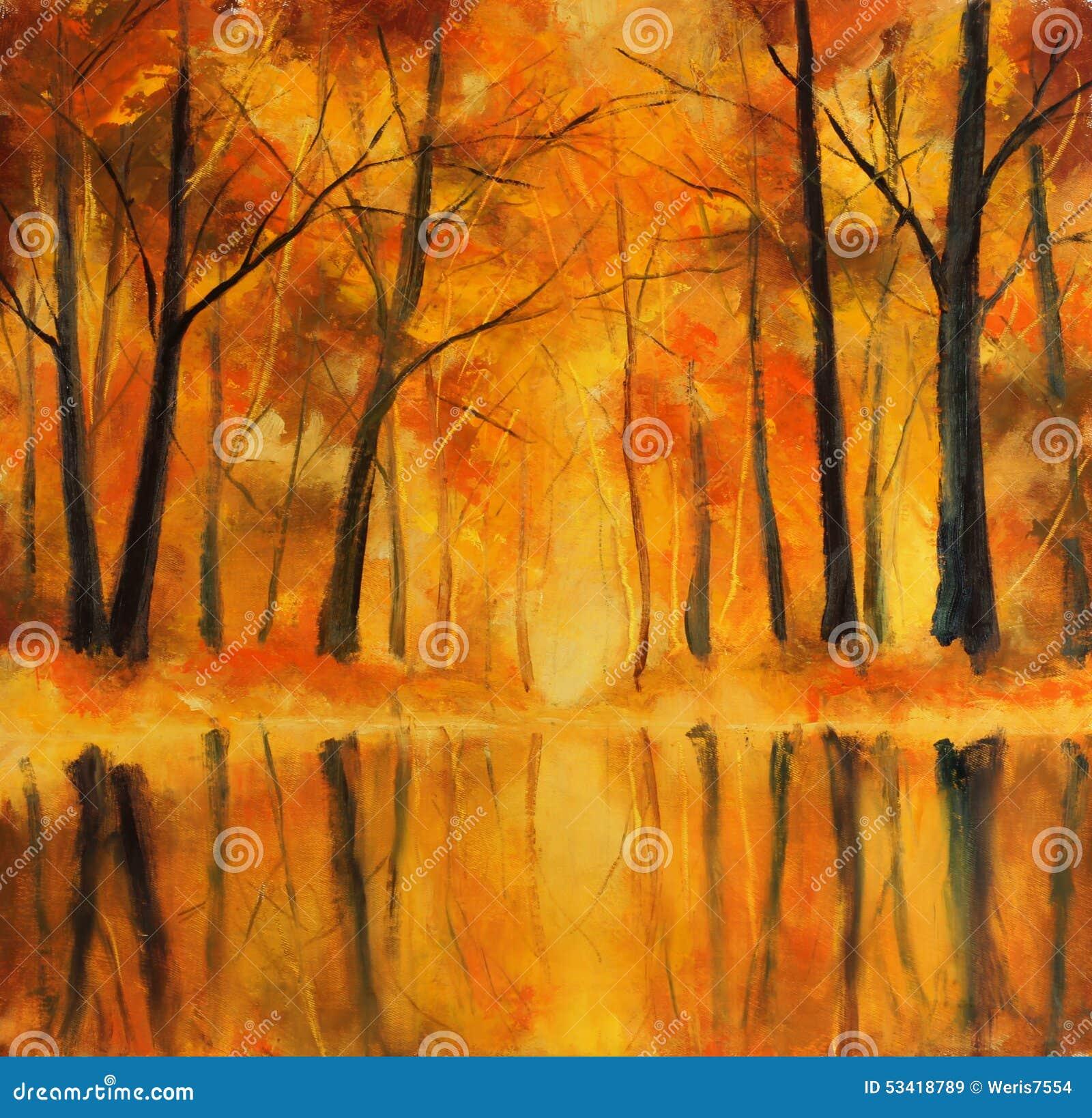 R flexion des arbres d 39 automne dans l 39 eau peinture for De l arbre au meuble