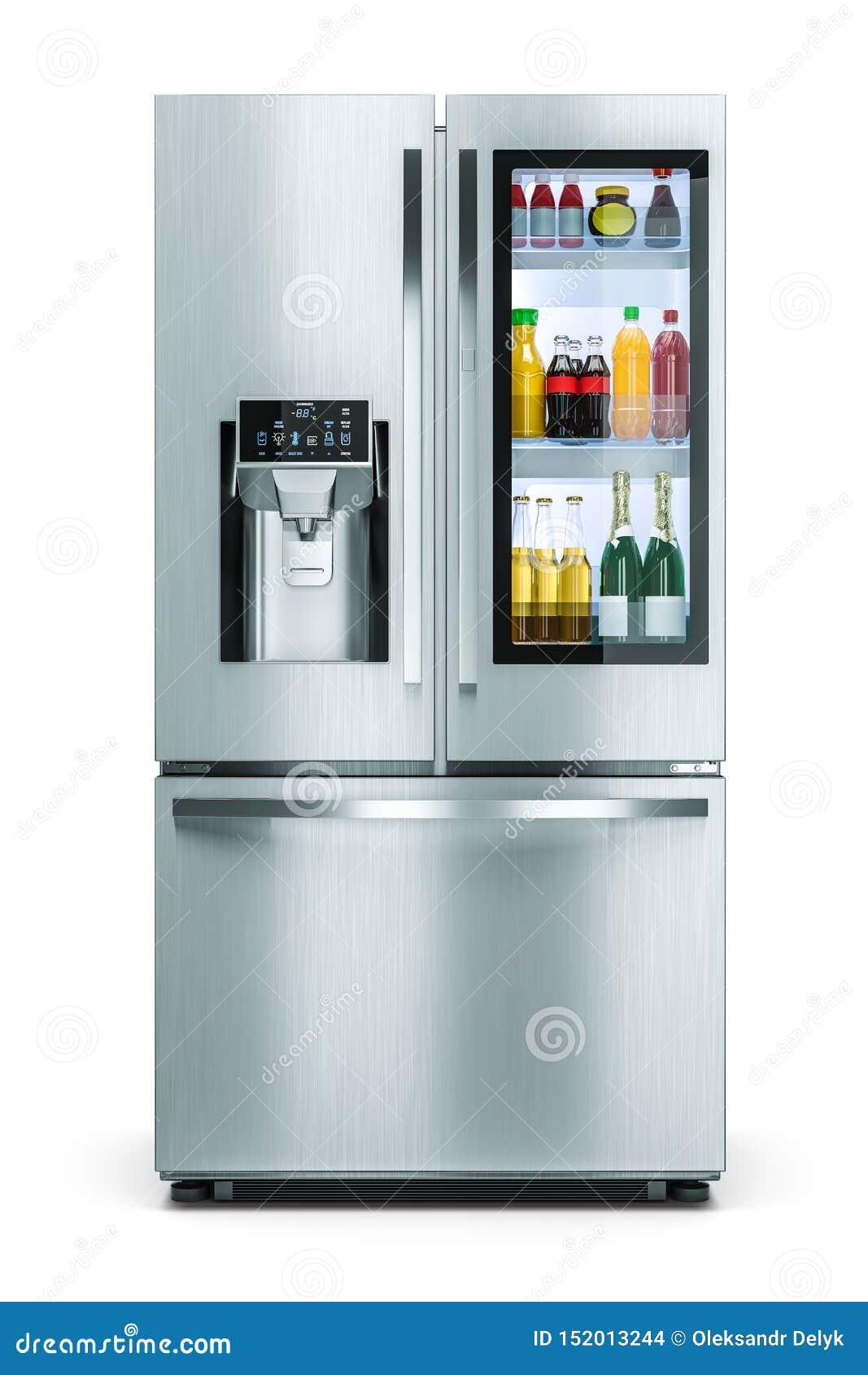 Réfrigérateur moderne de ménage avec la fenêtre de stockage de boissons d isolement sur le fond blanc 3d