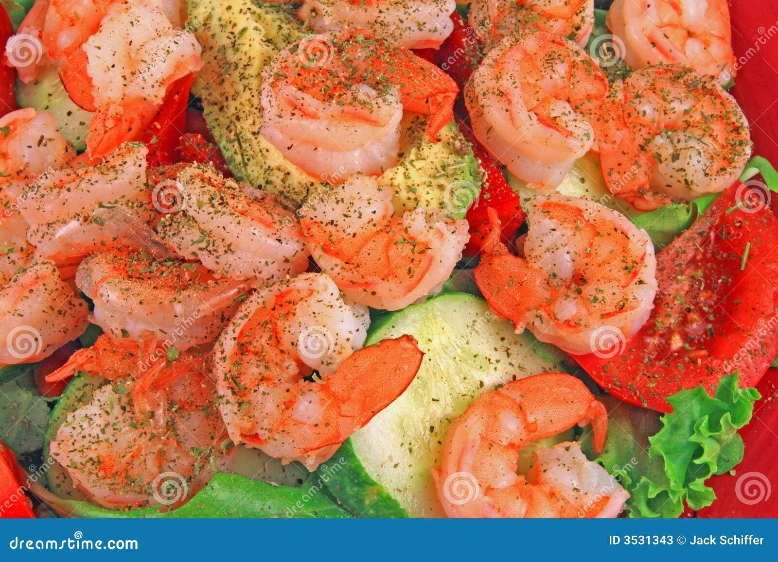 Régime de salade de crevette