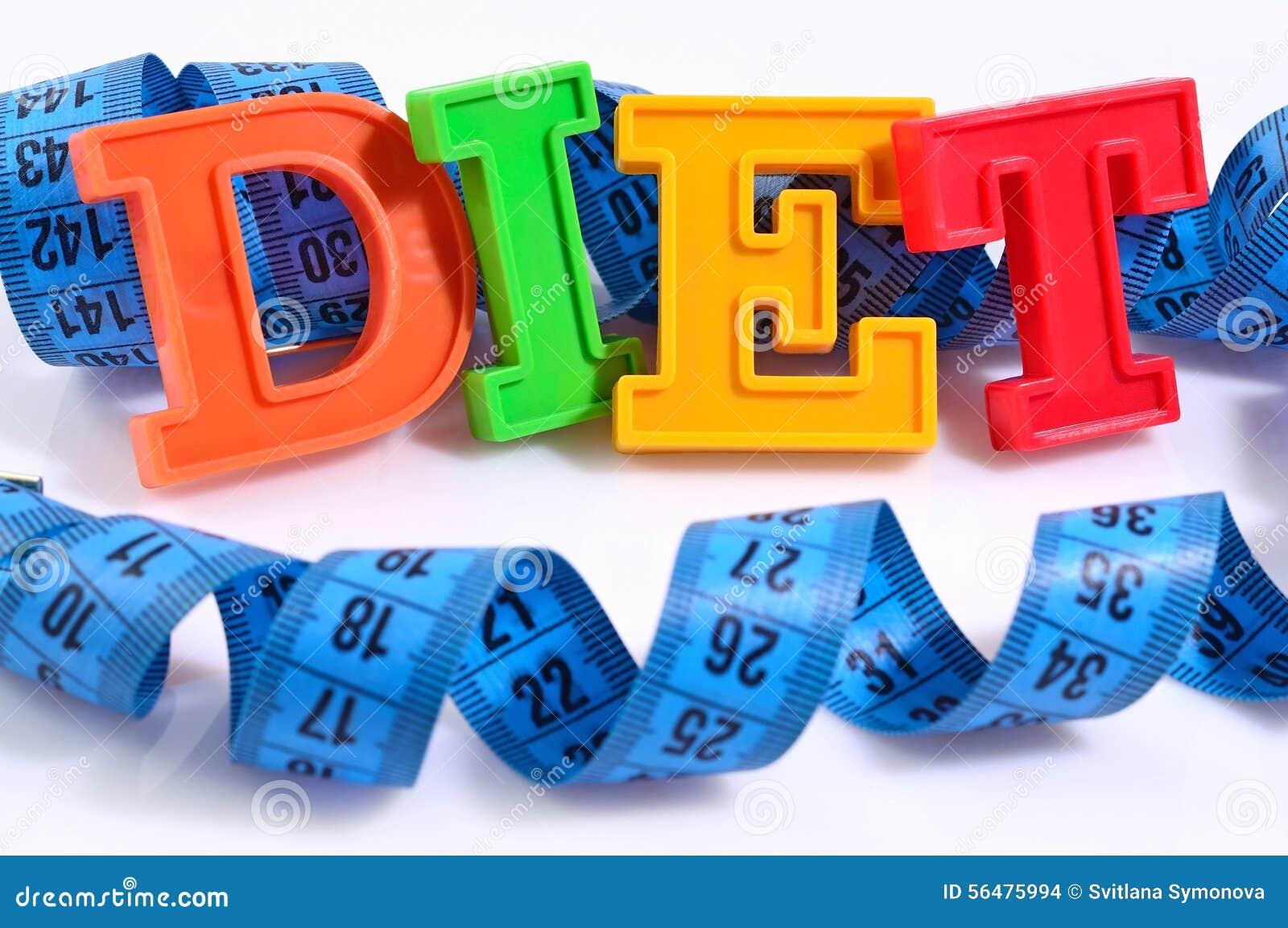 Régime de Word écrit par les lettres colorées avec la bande de mesure bleue o