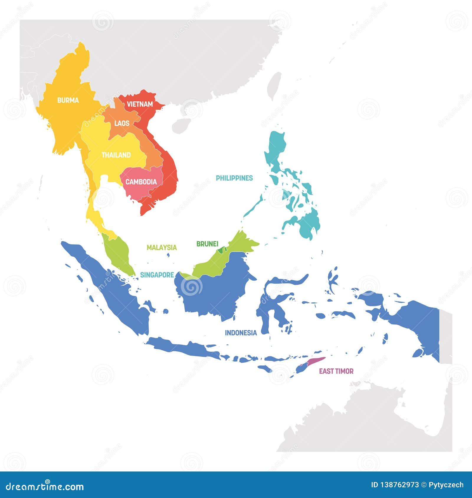 Carte Region Asie.Region D Asie Du Sud Est Carte Coloree Des Pays En Asie Du