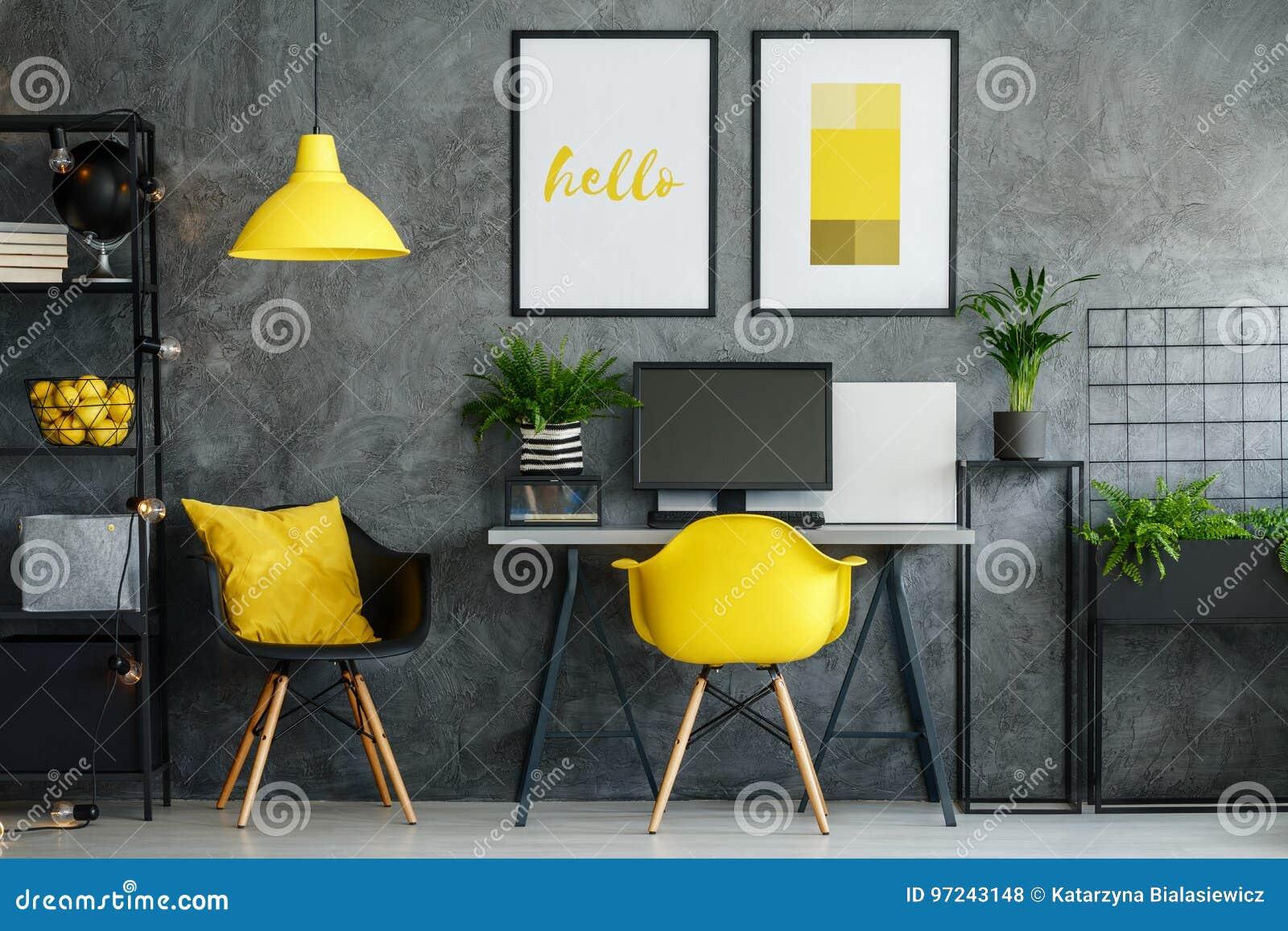 Région de bureau avec le décor jaune photo stock image du bureau
