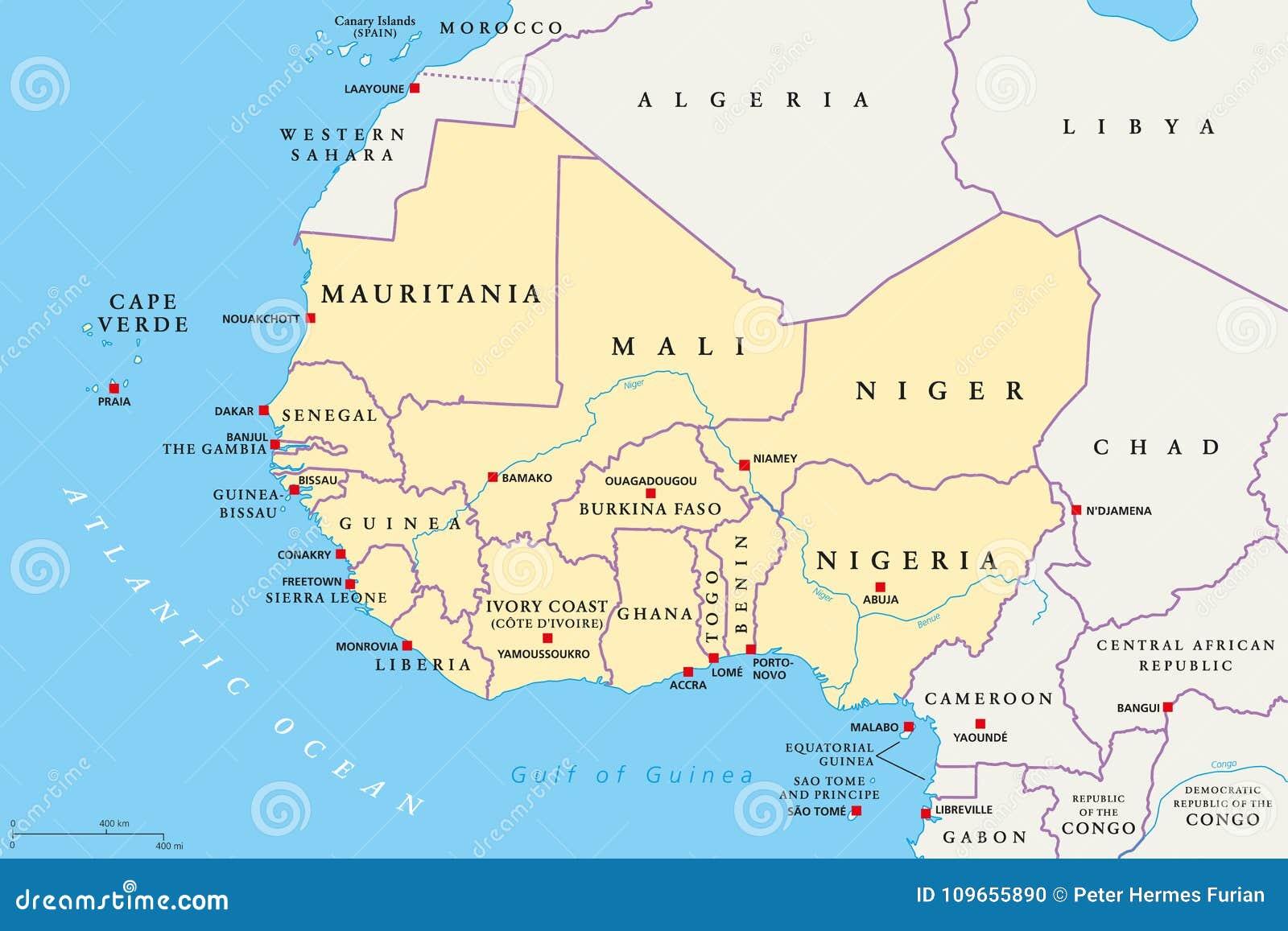 Carte Afrique De Louest.Region De L Afrique De L Ouest Carte Politique Illustration