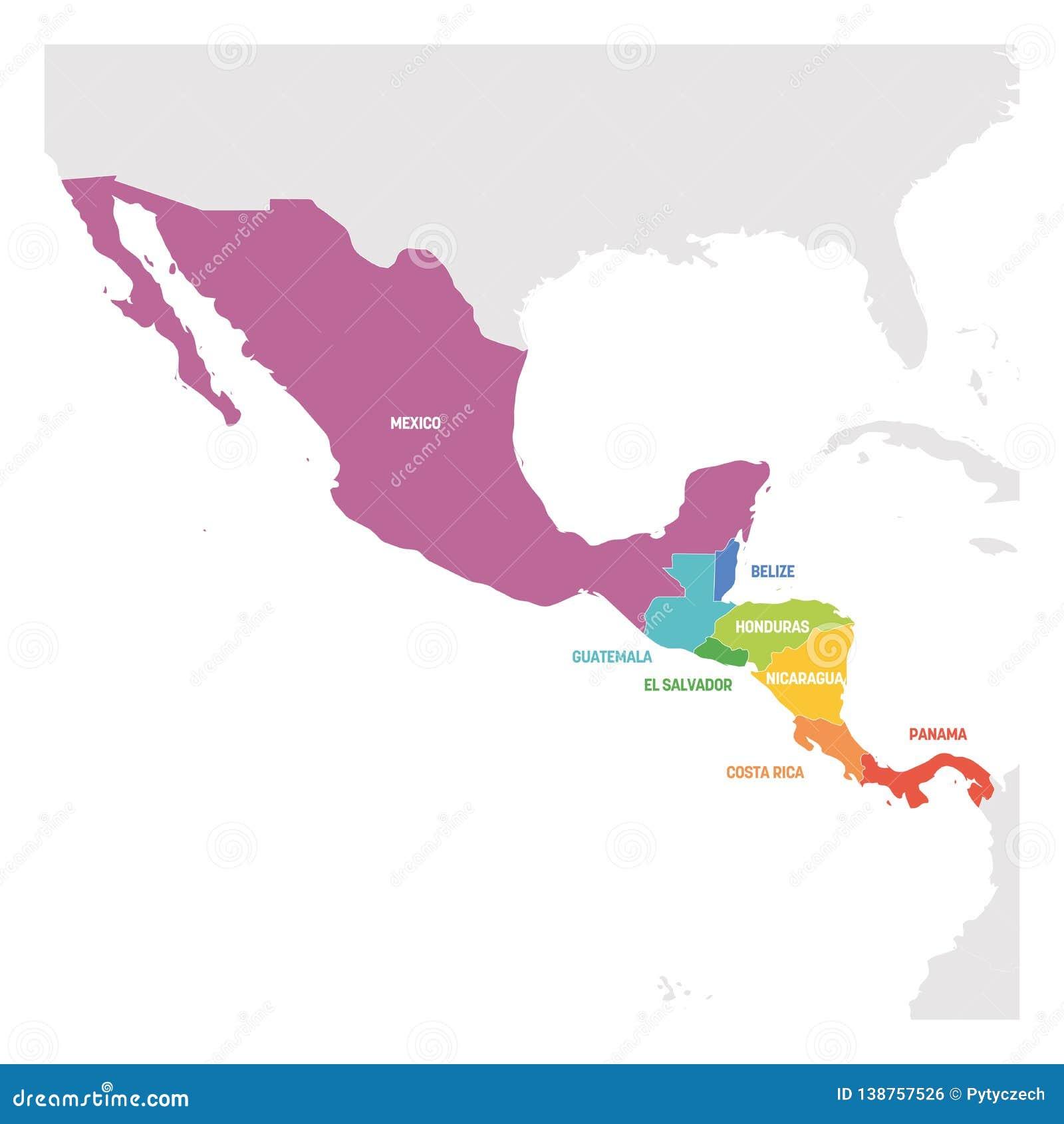 Carte Pays Amerique Centrale.Region De L Amerique Centrale Carte Coloree Des Pays Dans La