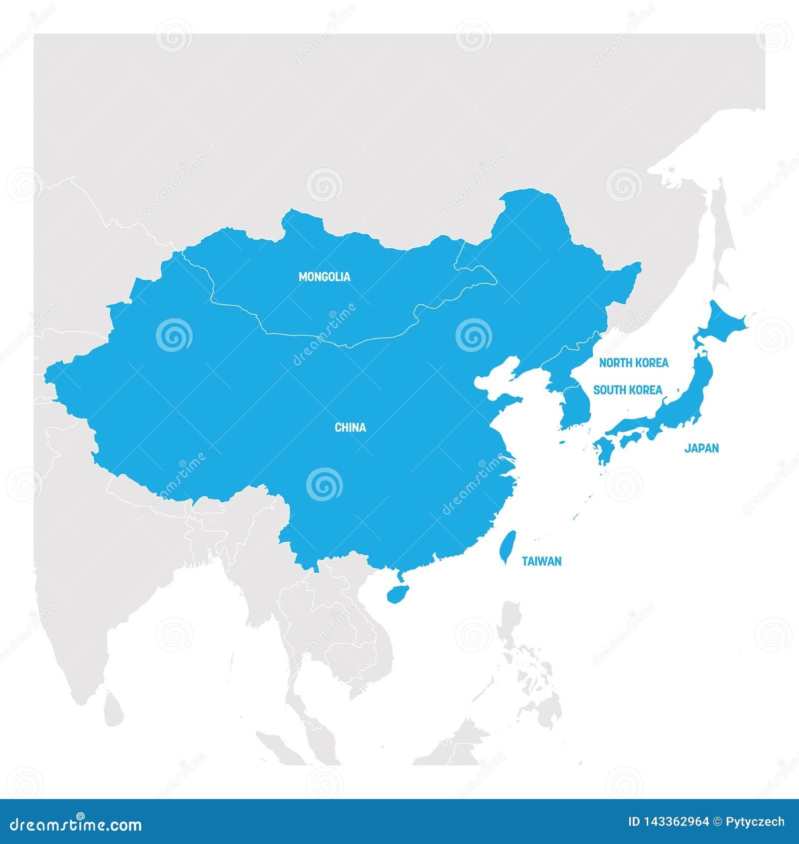 Carte Region Asie.Region De L Asie De L Est Carte Des Pays En Asie Orientale