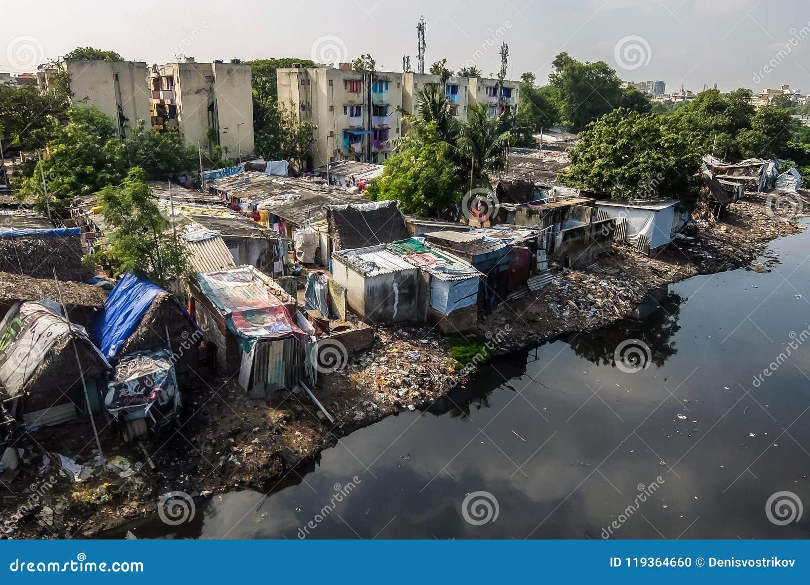 Région de taudis dans Chennai, Inde