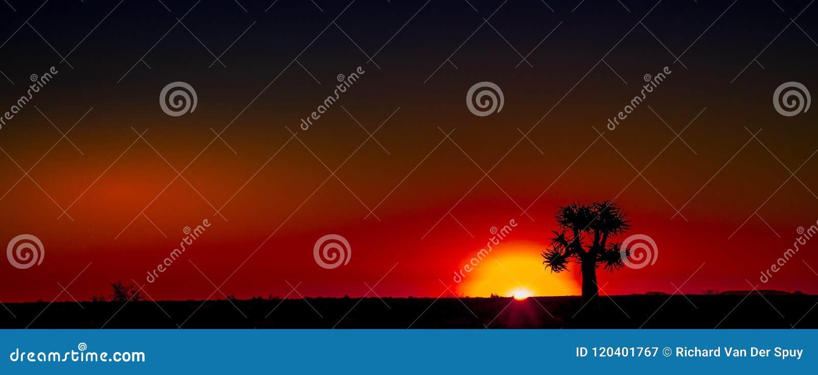 Région naturelle Afrique du Sud de Namaqualand de coucher du soleil