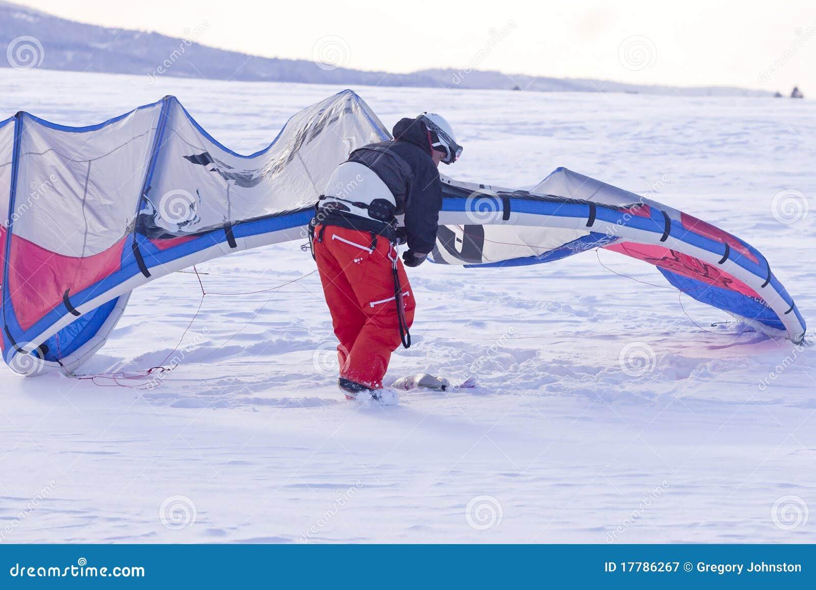 Réglage du cerf-volant de neige.