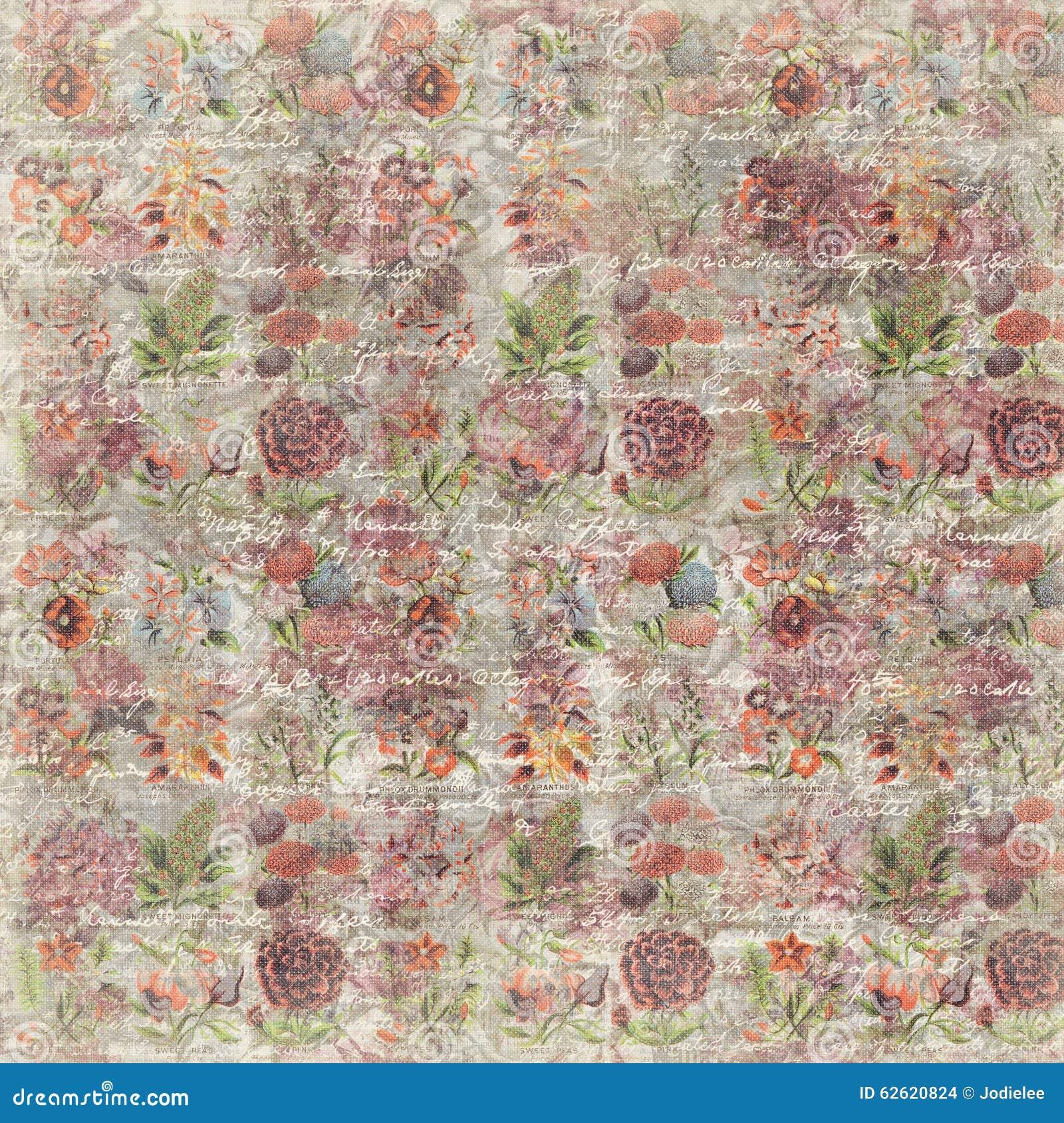 Répétition botanique de fond de papier peint de fleur rose sale de vintage