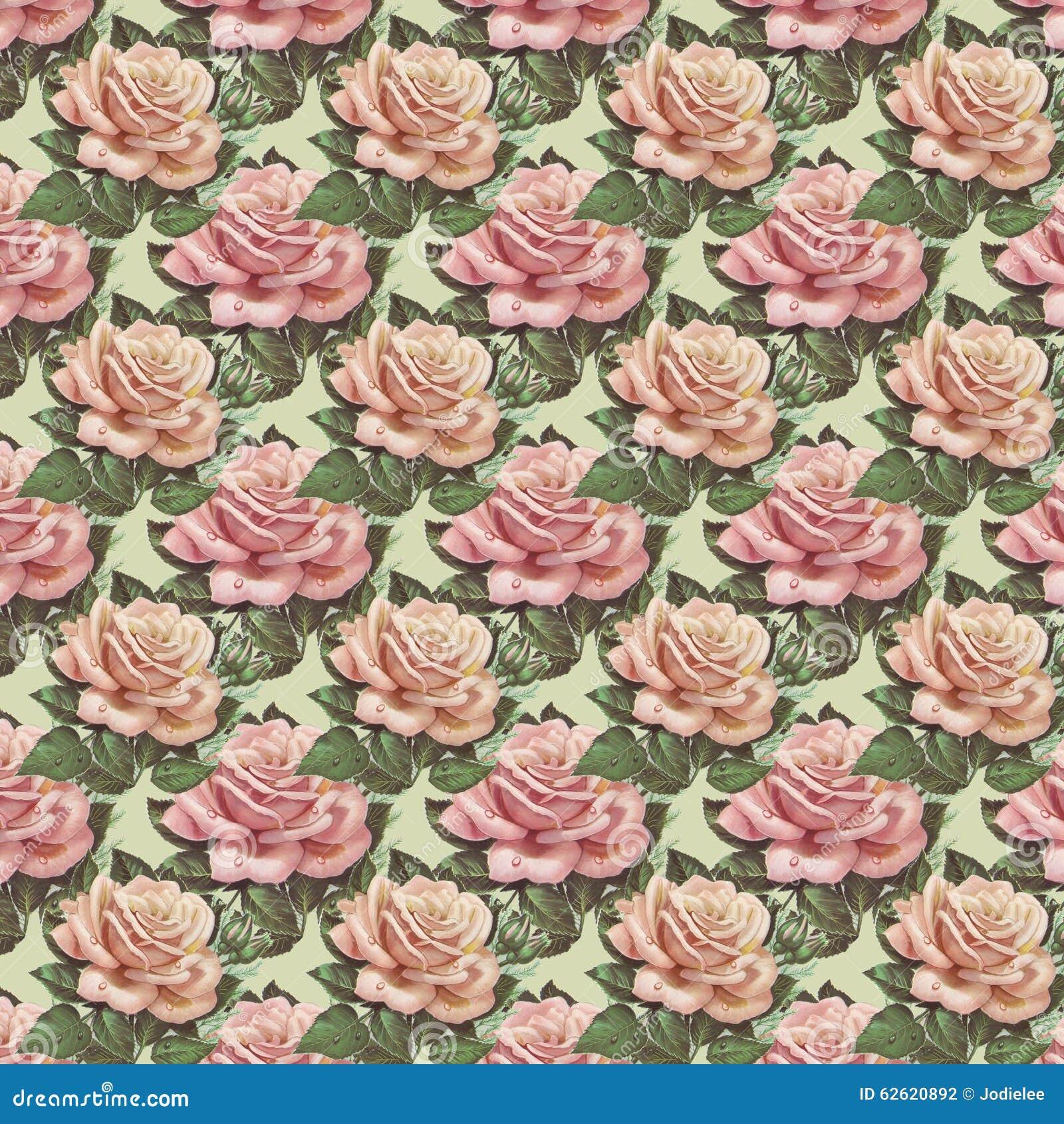 Repetition Rose De Fond De Papier Peint De Fleur De Vintage Rose