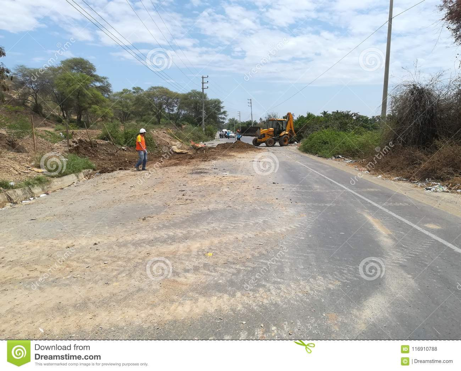 Réparation de tuyau, sur la route