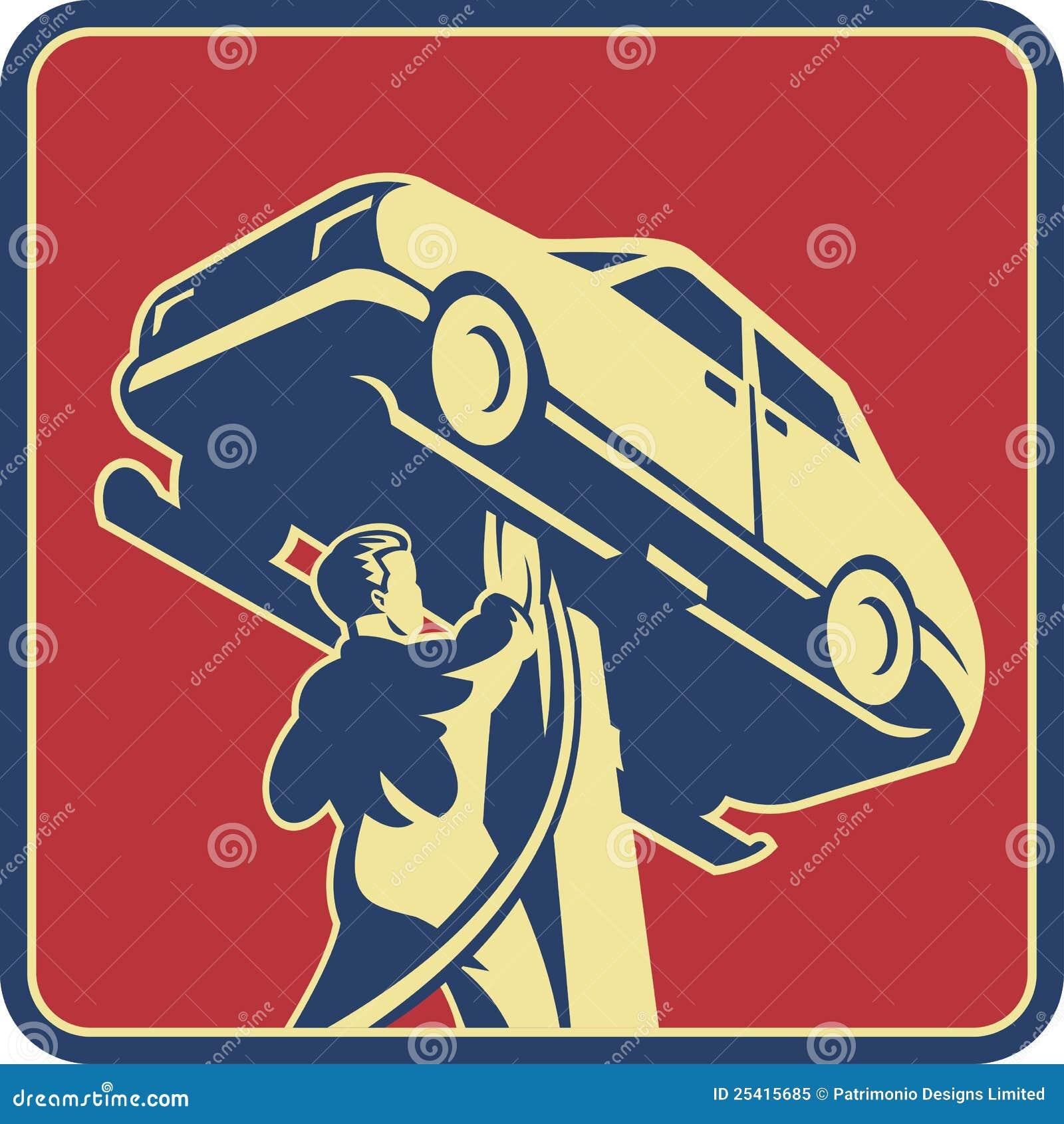 Réparation de véhicule de technicien de mécanicien rétro