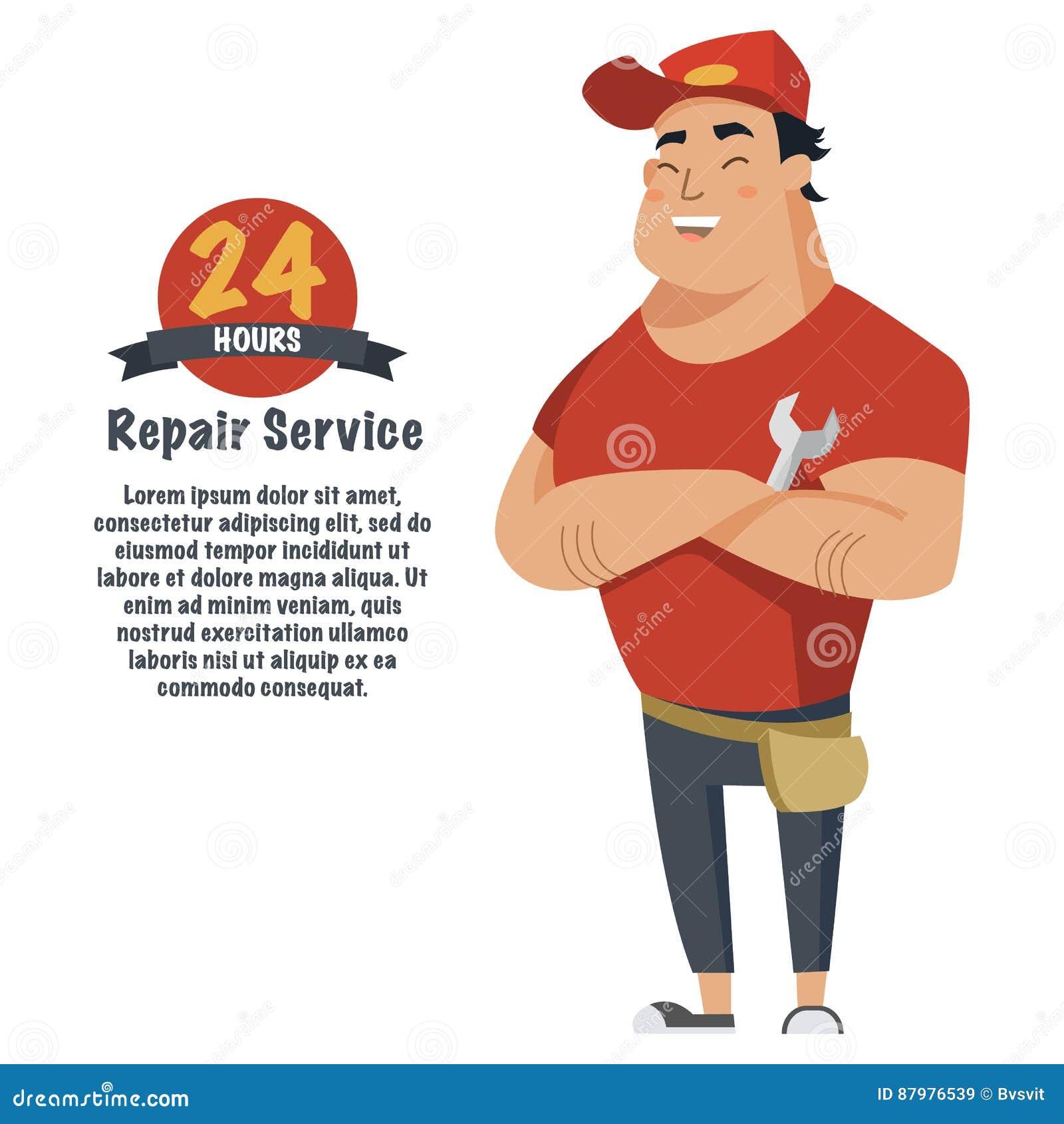 Réparez l homme avec la clé à disposition Plombier, mécanicien ou bricoleur dans des vêtements de travail Illustration plate de v