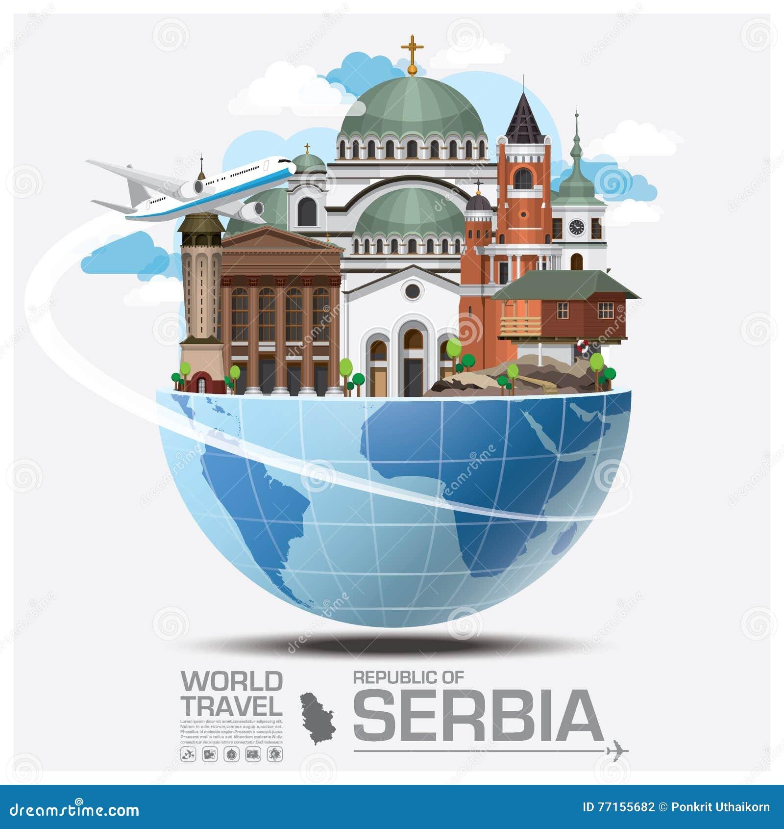 République de voyage et de voyage globaux Infographic de point de repère de la Serbie