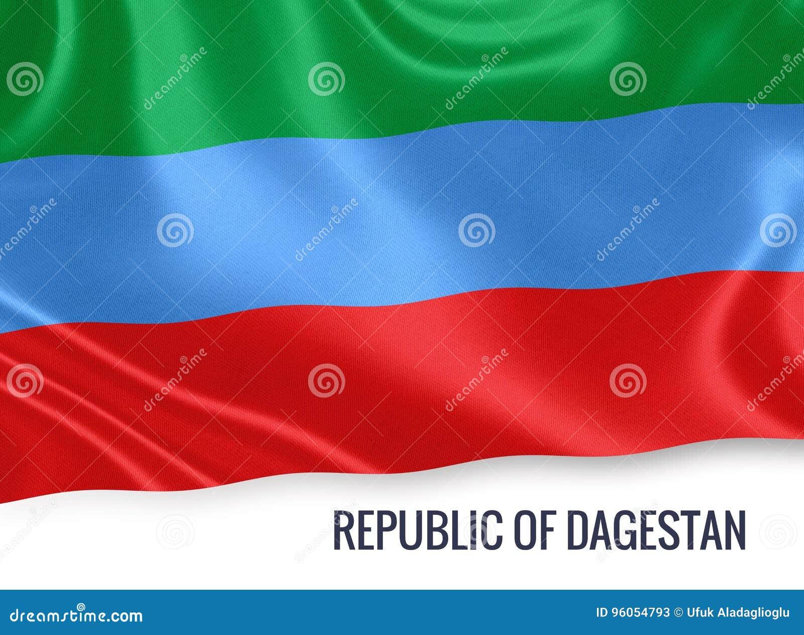 République russe d état de drapeau de Dagestan ondulant sur un wh d isolement
