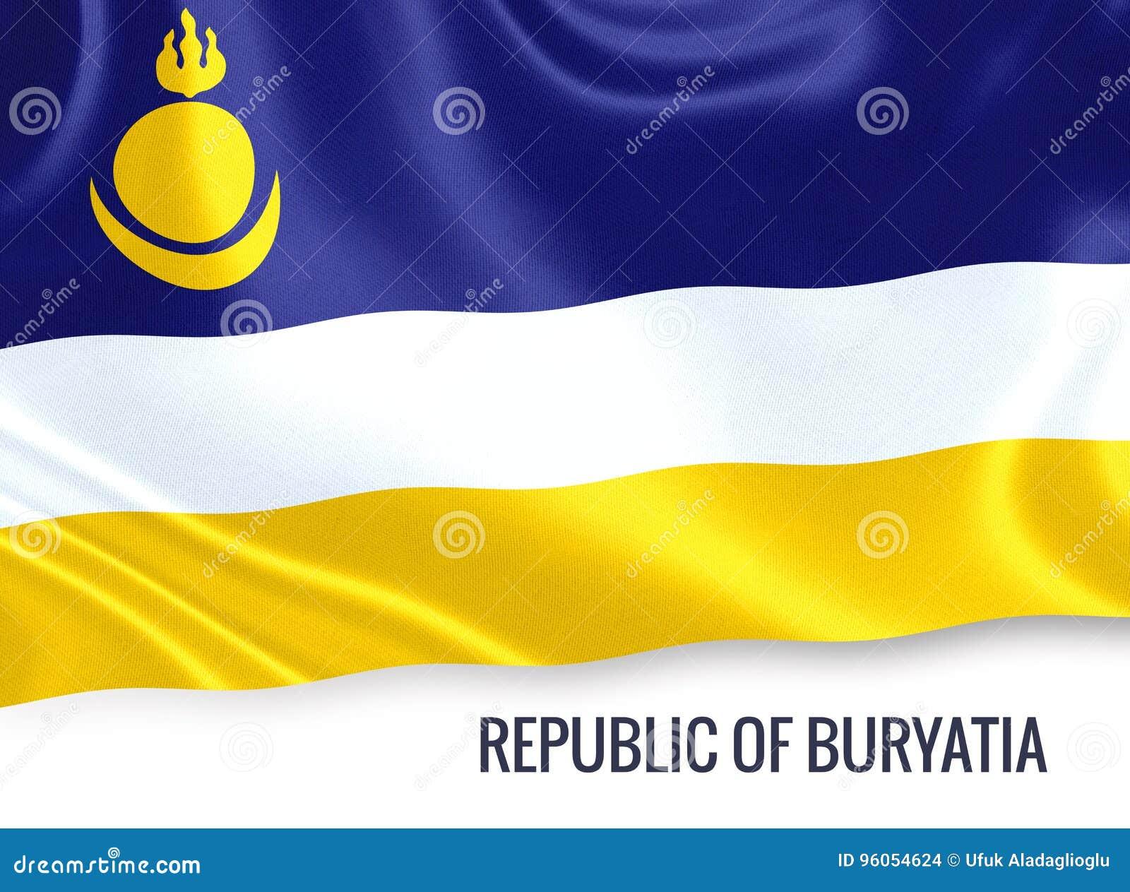 République russe d état de drapeau de la Bouriatie ondulant sur un wh d isolement