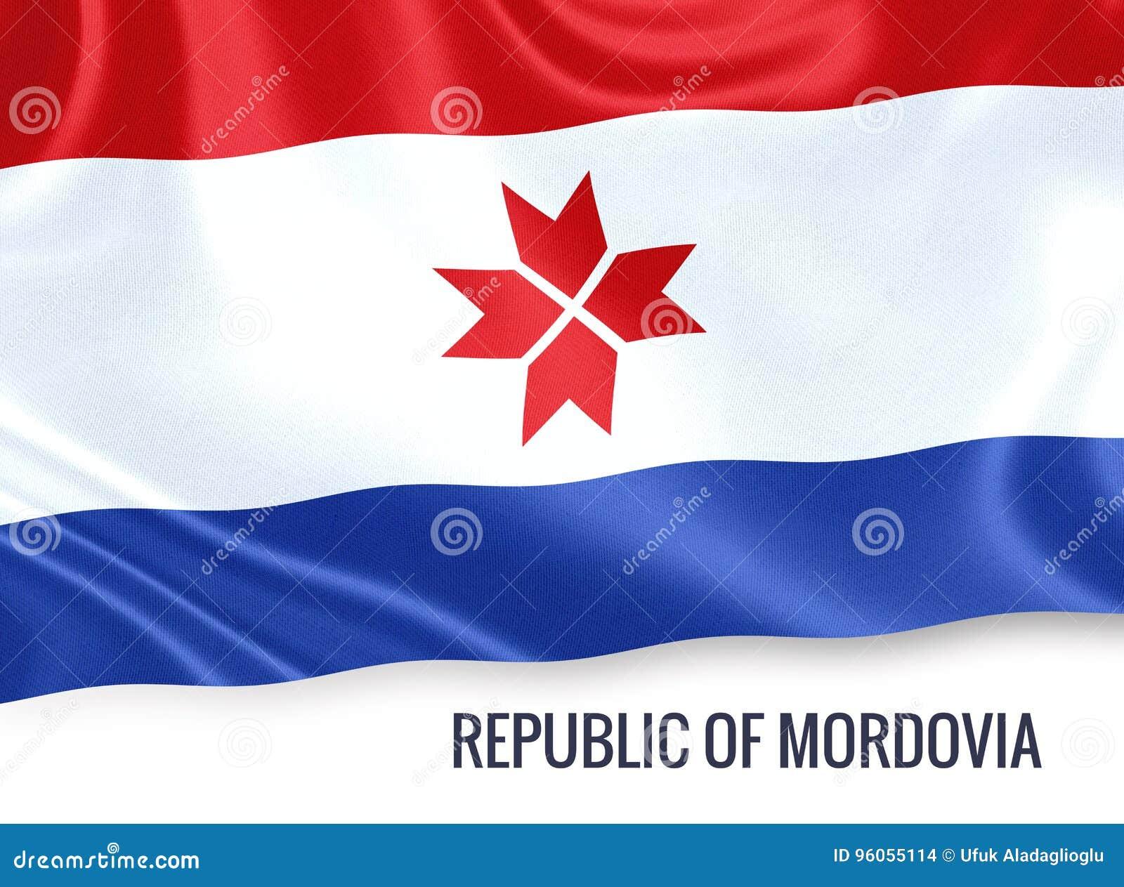 République russe d état de drapeau de la Mordovie ondulant sur un wh d isolement