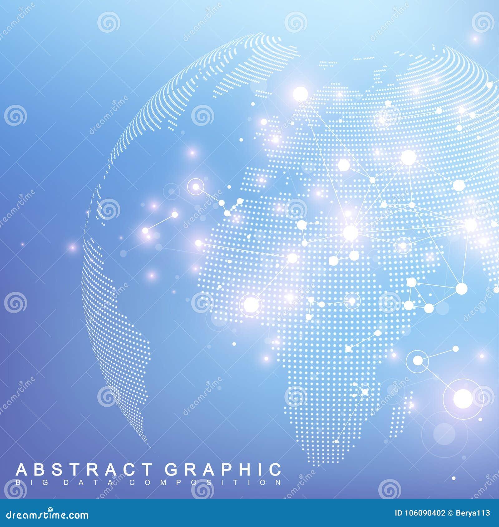 Réseau et d échange de données au-dessus de la terre de planète dans l espace Communication graphique virtuelle de fond avec le g
