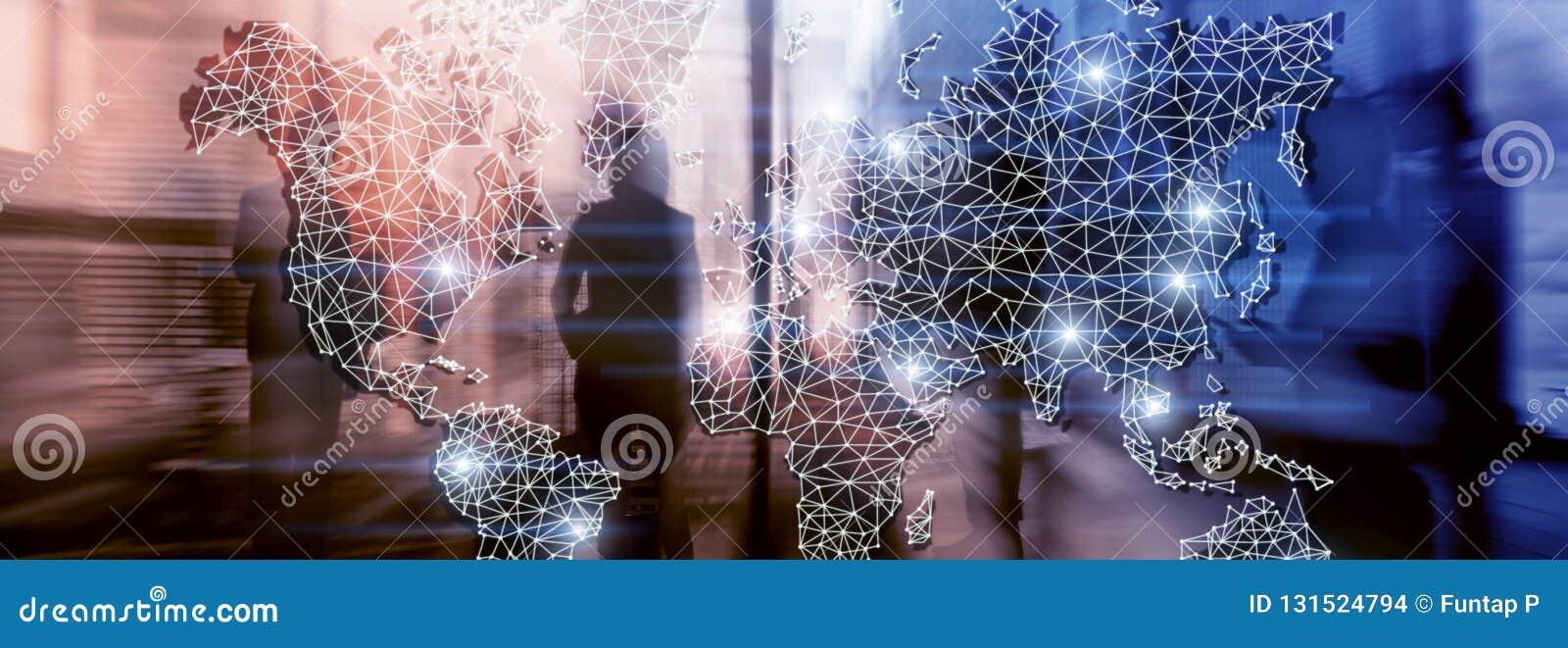 Réseau global de double exposition de carte du monde Télécommunication, Internet international d affaires et concept de technolog