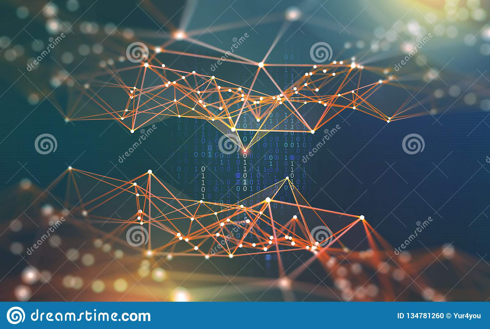 Réseau global Illustration de Blockchain 3D Réseaux neurologiques et intelligence artificielle Concept de cyberespace