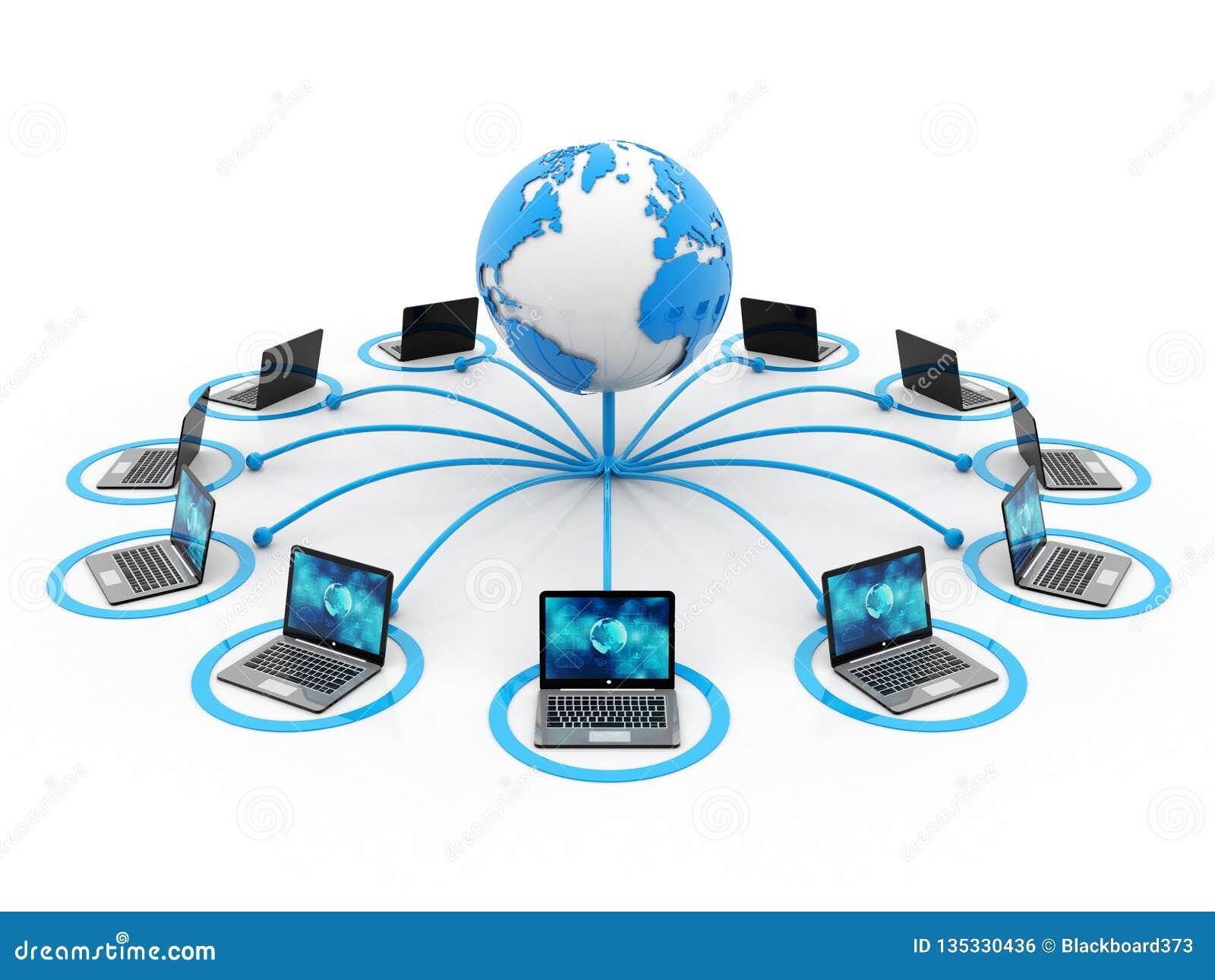 Réseau Informatique Global, Communication D'Internet 3d Rendent Illustration Stock - Illustration du global, communication: 135330436