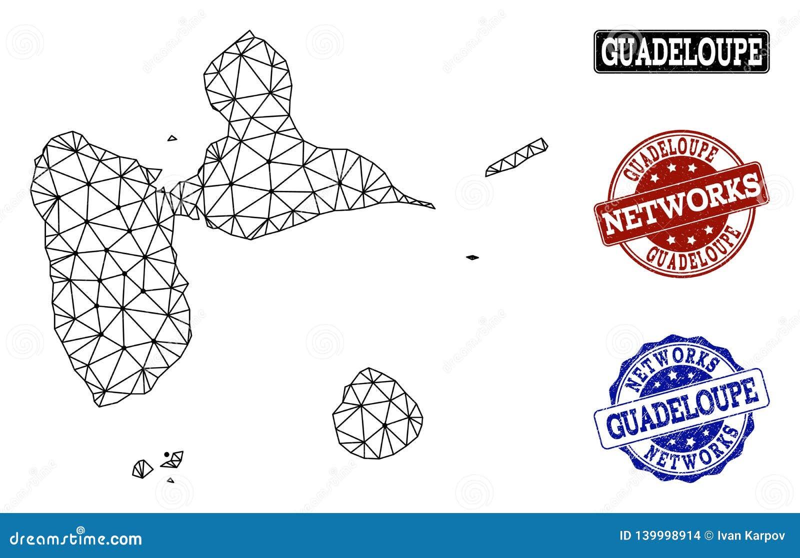 Carte Guadeloupe Noir Et Blanc.Reseau Polygonal Mesh Vector Map Des Timbres Grunges De La