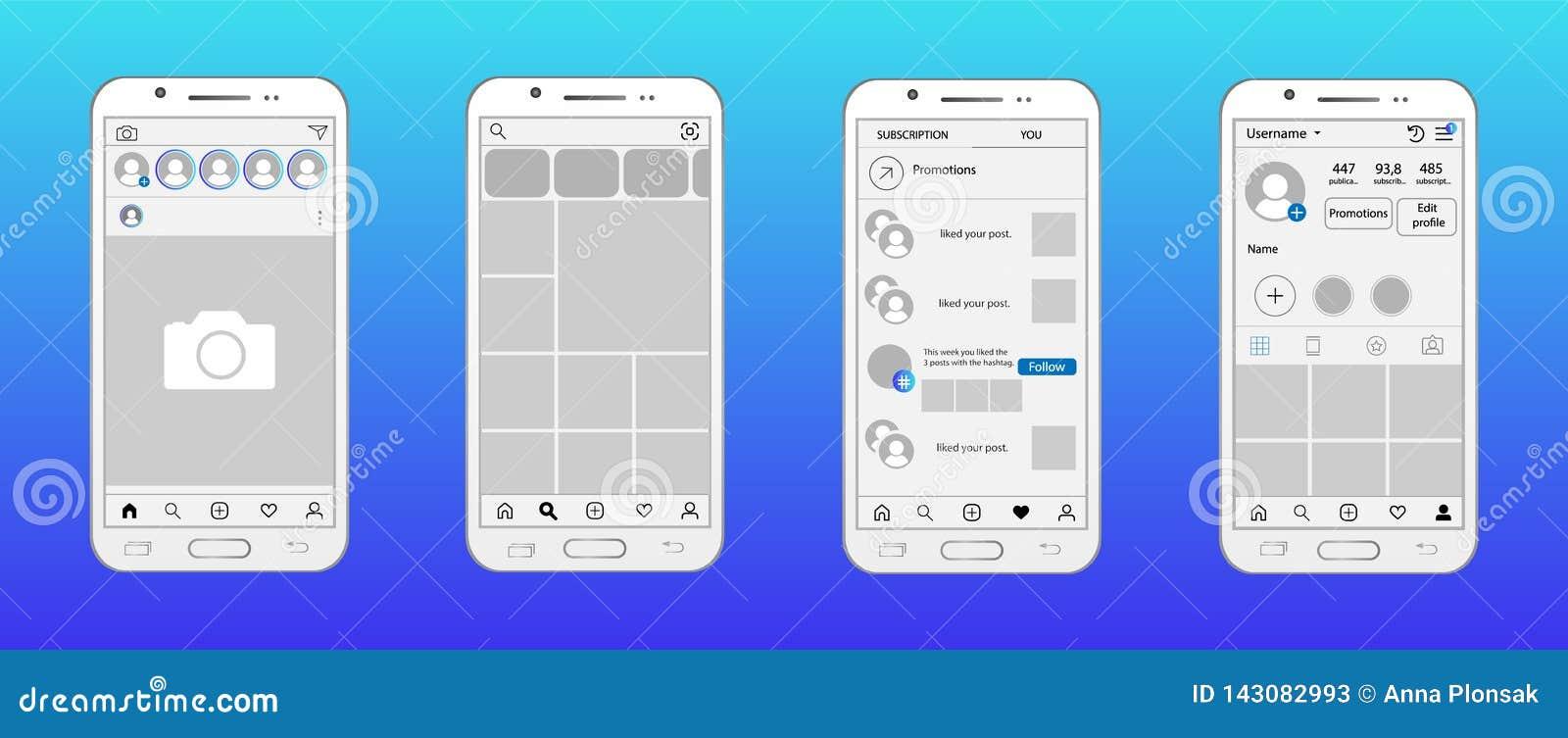 Réseau social dans la maquette de smartphone Page d accueil, recherche et offrir la page, page de goûts, page de profil