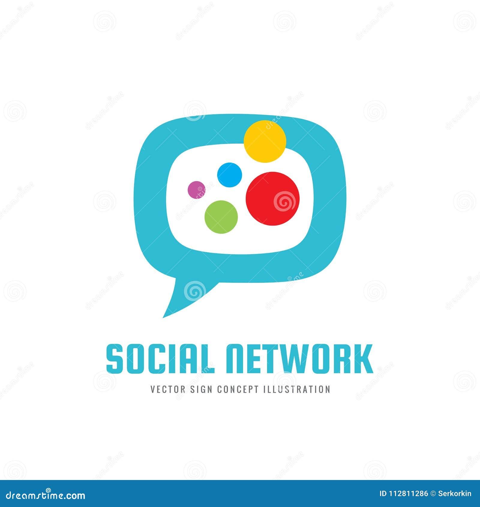 Réseau social de media - dirigez l illustration de concept de calibre de logo Signe abstrait créatif de communication de message