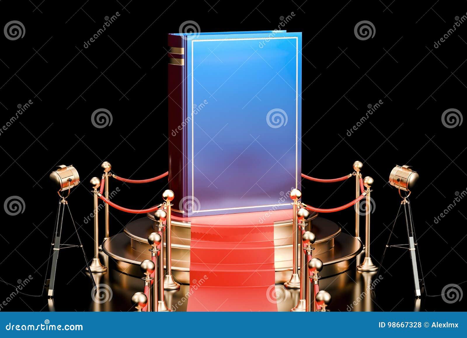 Réservez sur le podium, présentation de concept de nouveau livre rendu 3d