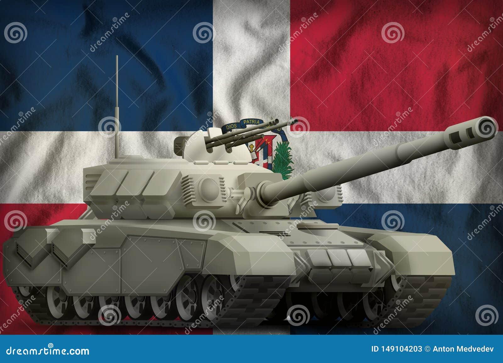 R?servoir lourd sur le fond de drapeau national de la R?publique Dominicaine  illustration 3D