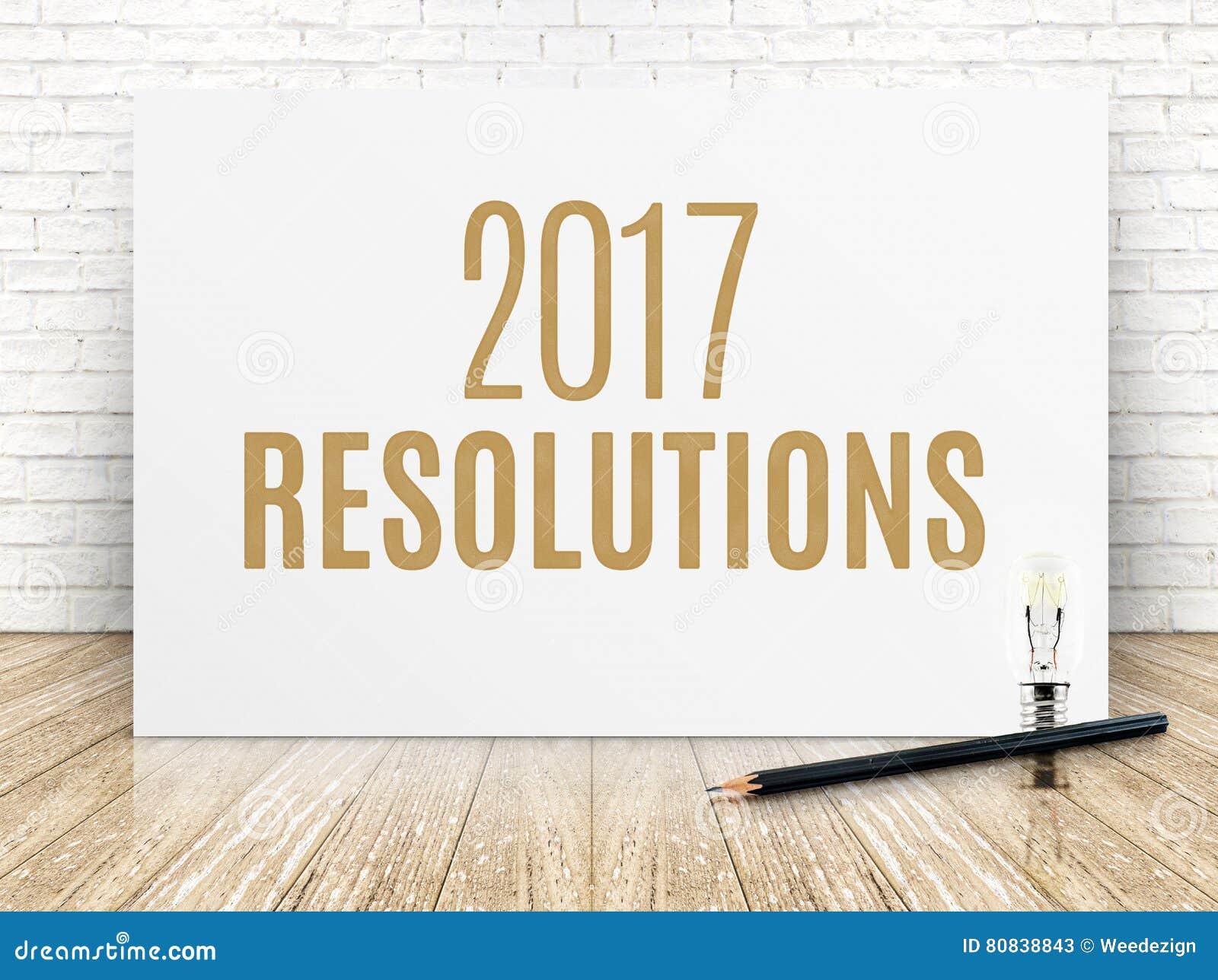2017 résolutions textotent sur l affiche de livre blanc avec le crayon noir