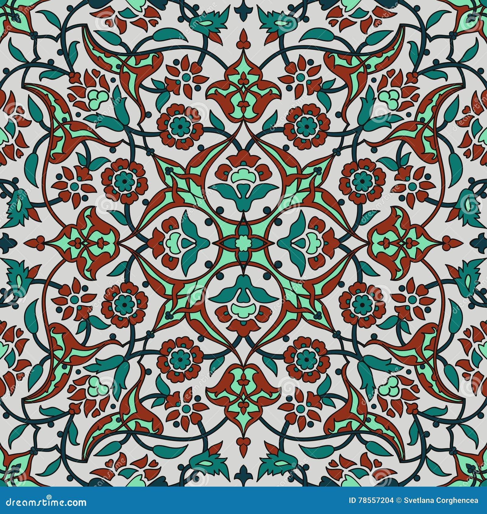 Retro Abrege Sur Sans Couture Papier Peint Oriental Stylise De