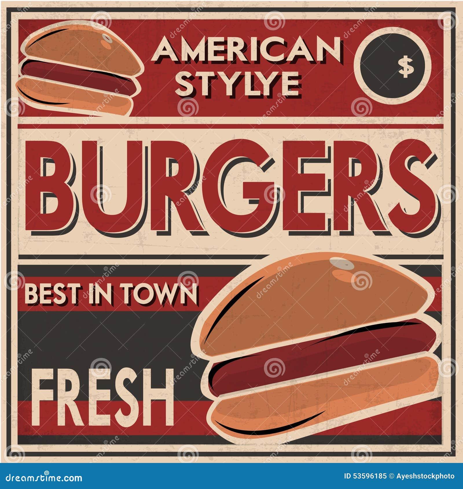 Rétro affiche d hamburgers